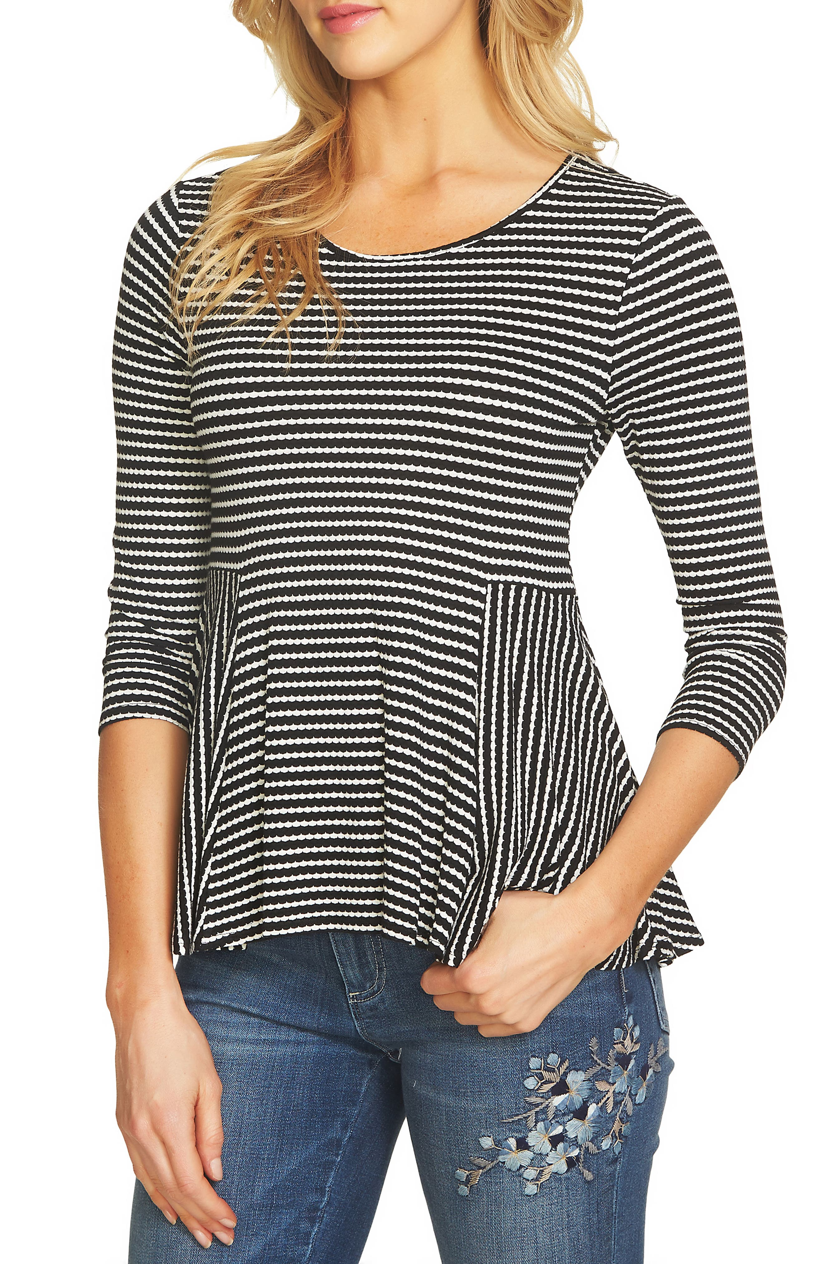 Alternate Image 1 Selected - CeCe Scalloped Knit Swing Top