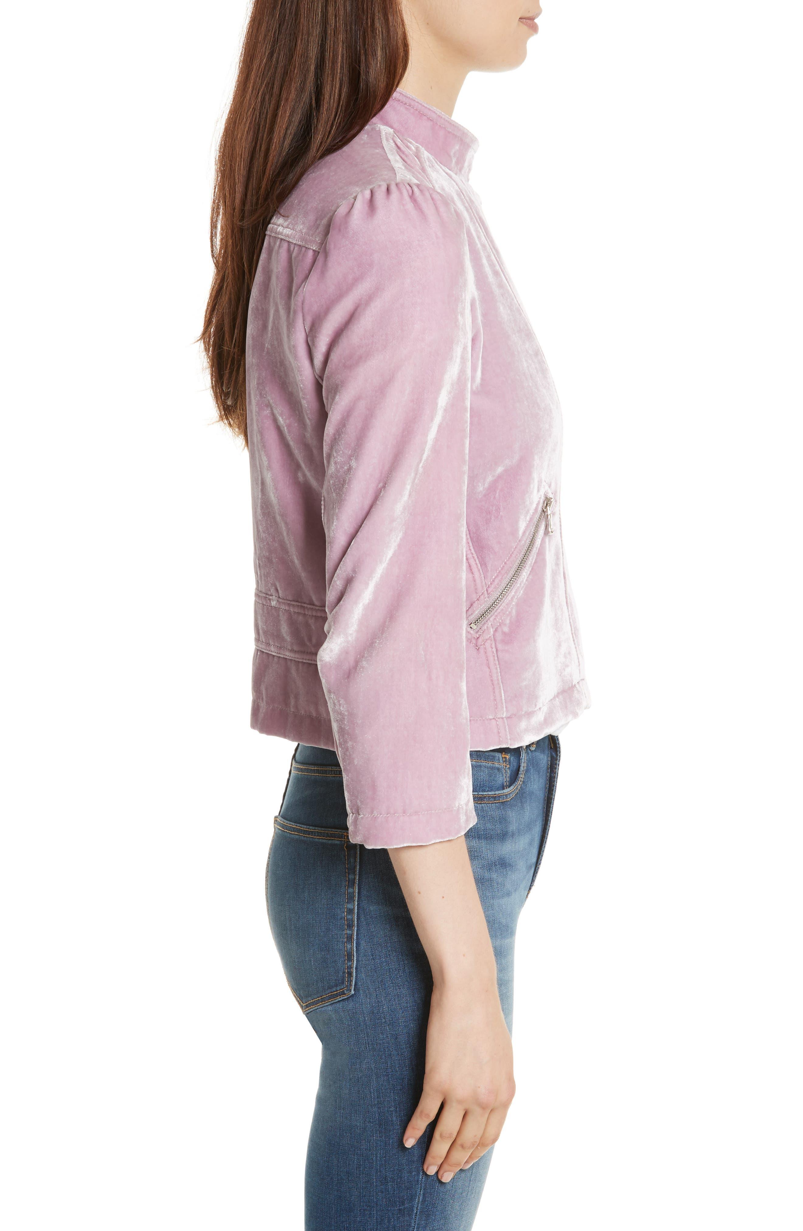 Velvet Moto Jacket,                             Alternate thumbnail 3, color,                             Dusty Iris
