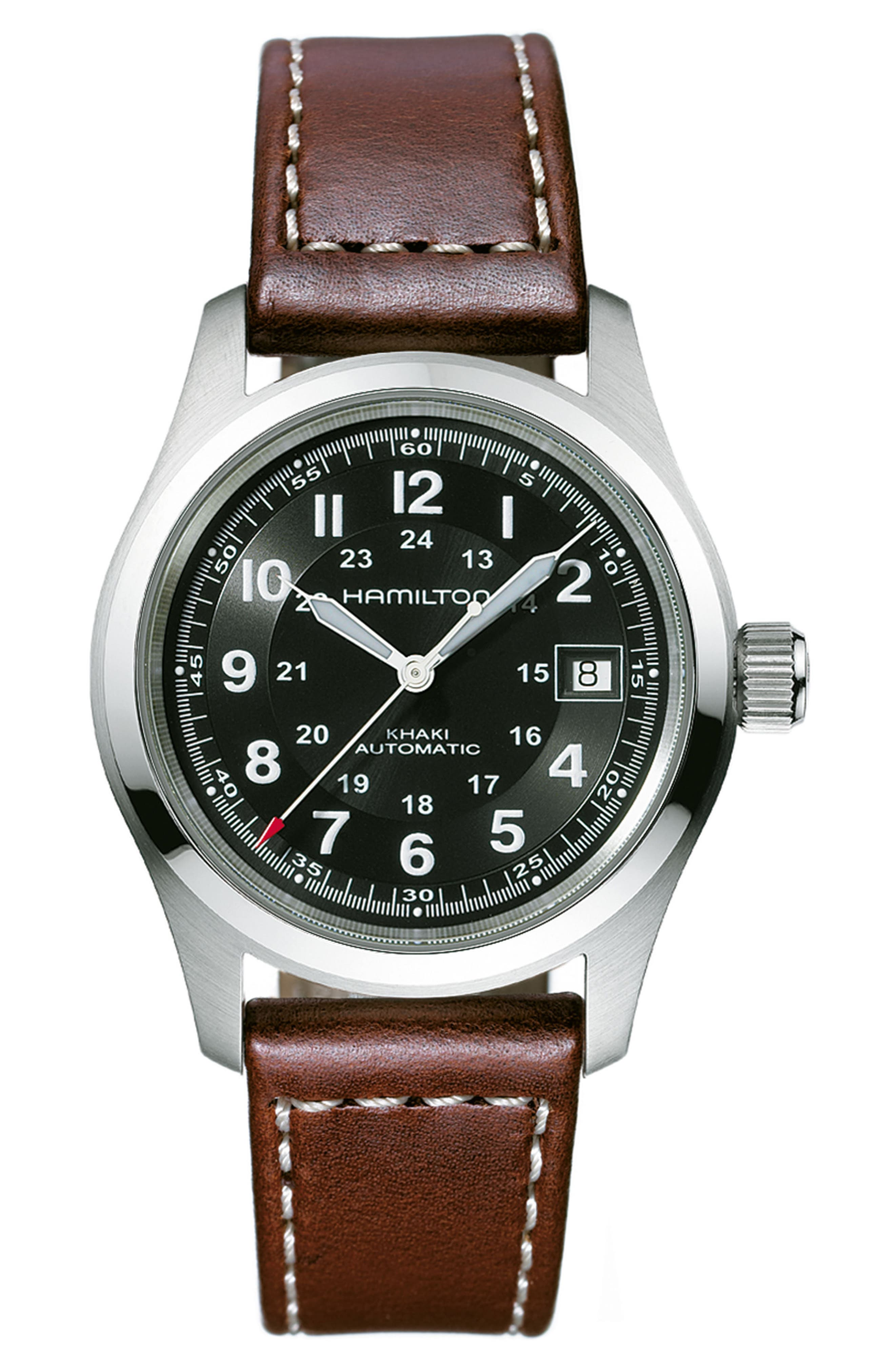 Khaki Field Automatic Leather Strap Watch, 38mm,                         Main,                         color, Brown/ Black/ Silver