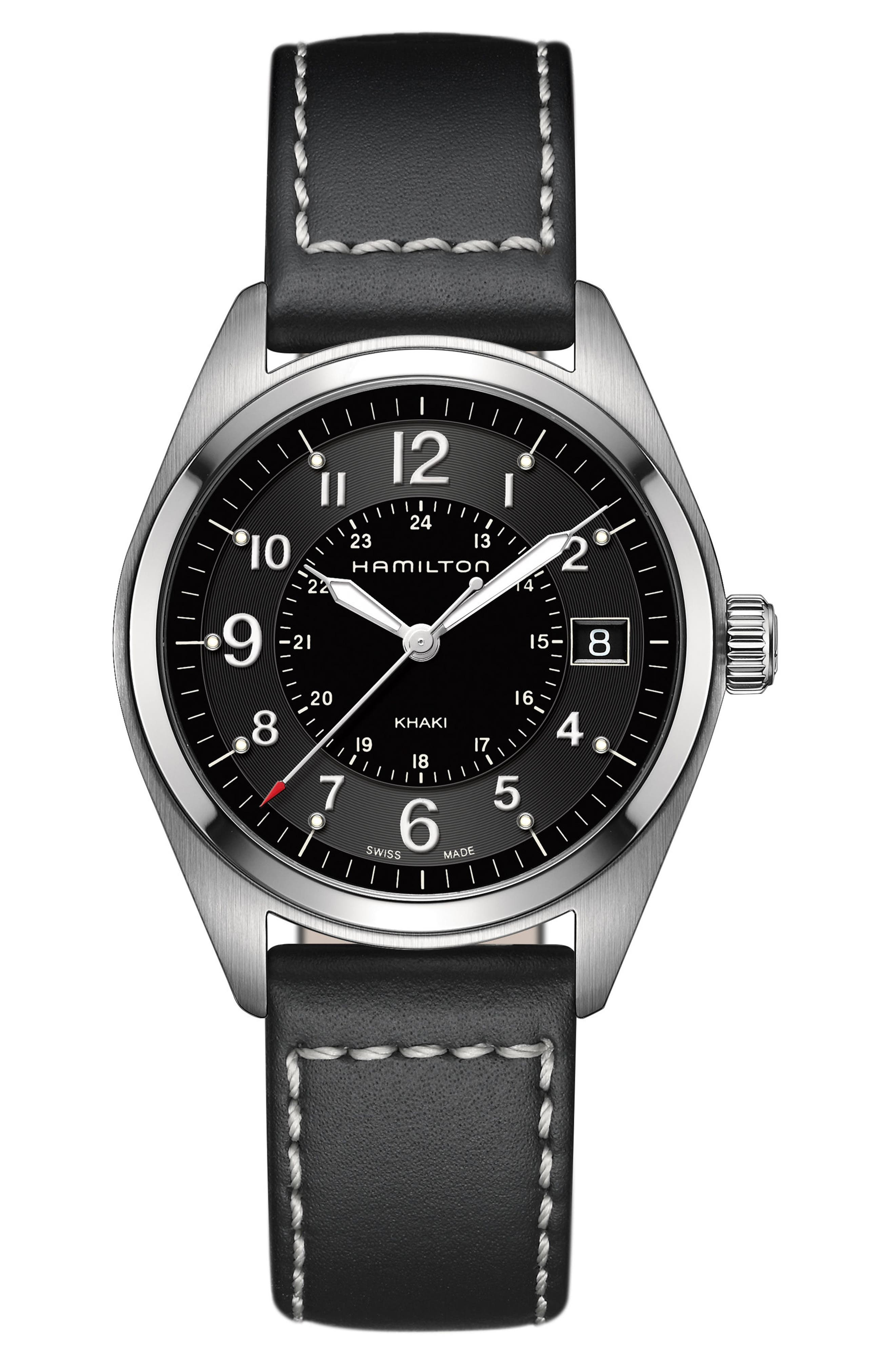 Alternate Image 1 Selected - Hamilton Khaki Field Leather Strap Watch, 40mm