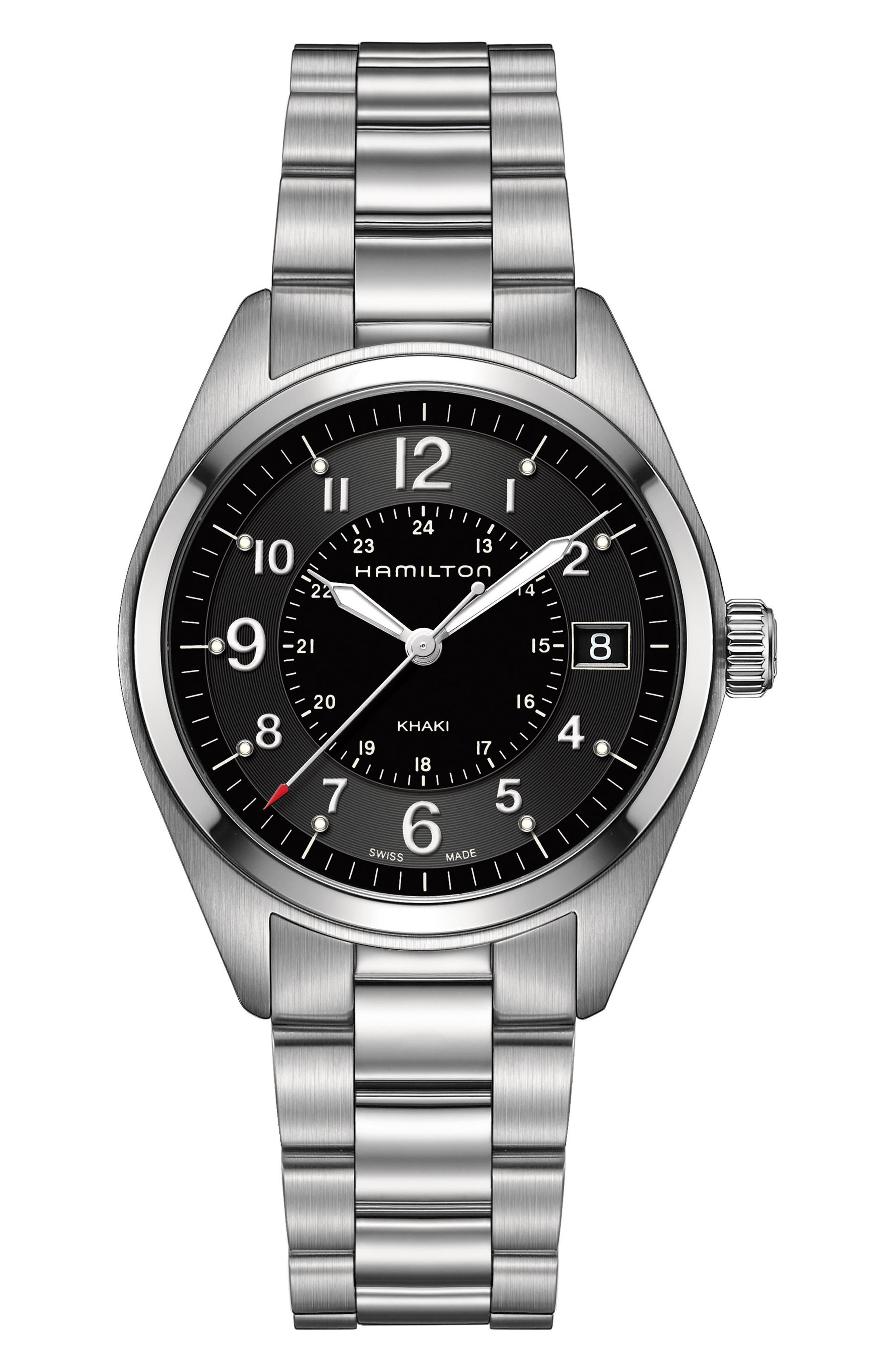 Khaki Field Bracelet Watch, 40mm,                         Main,                         color, Silver/ Black/ Silver