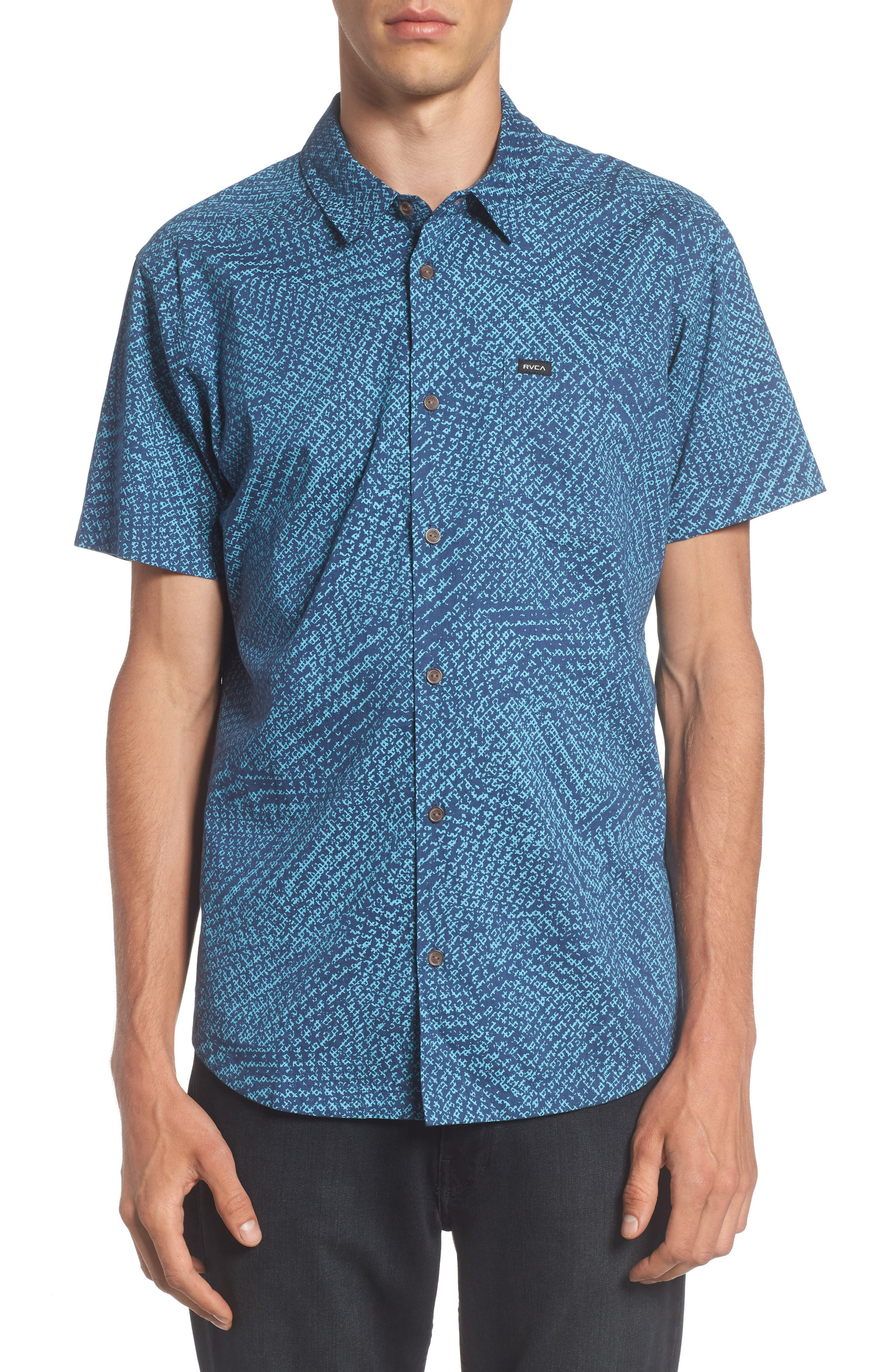Grid Woven Shirt,                         Main,                         color, Dark Denim