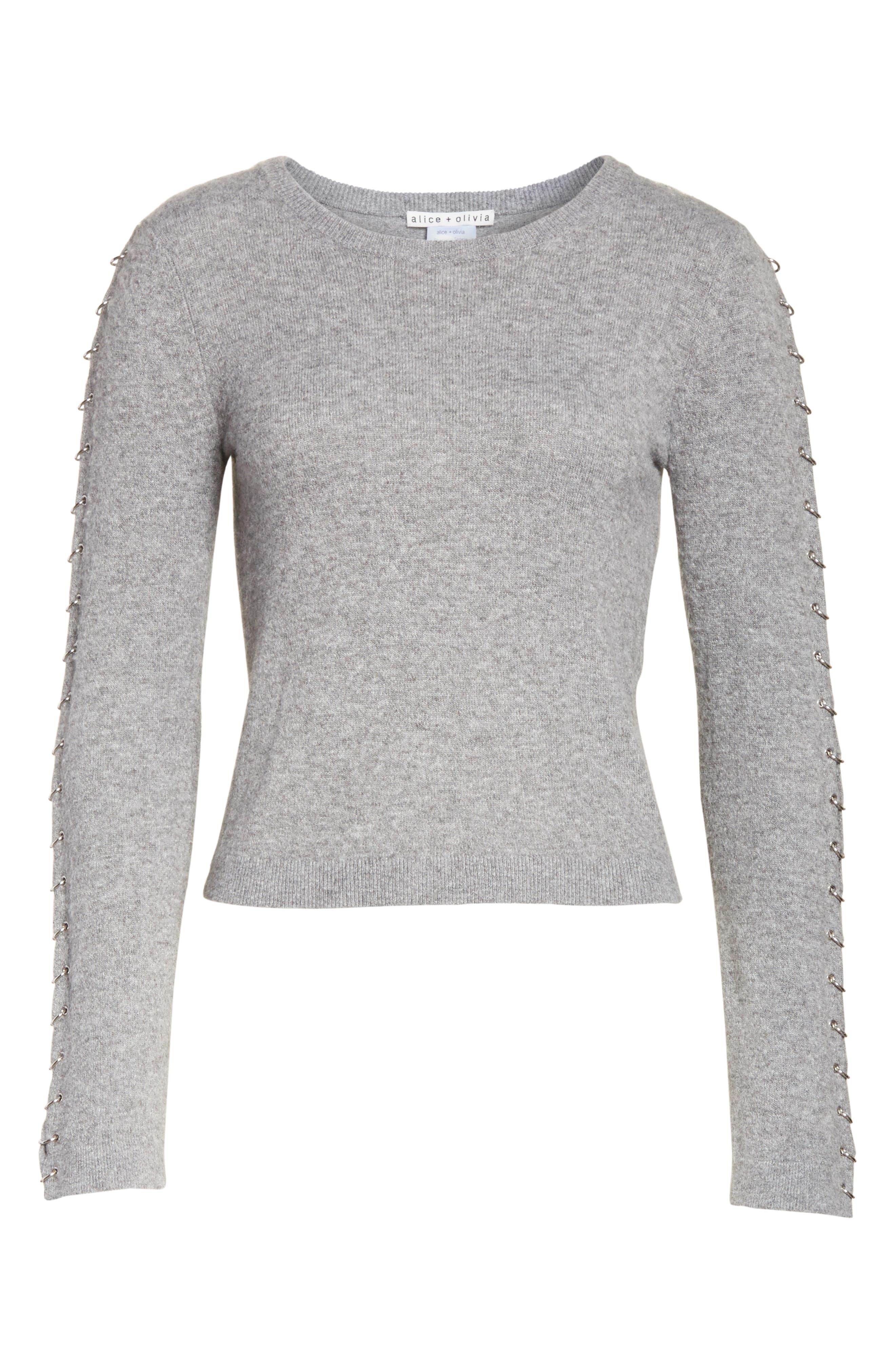 Alternate Image 6  - Alice + Olivia Sparrow Grommet Sleeve Sweater