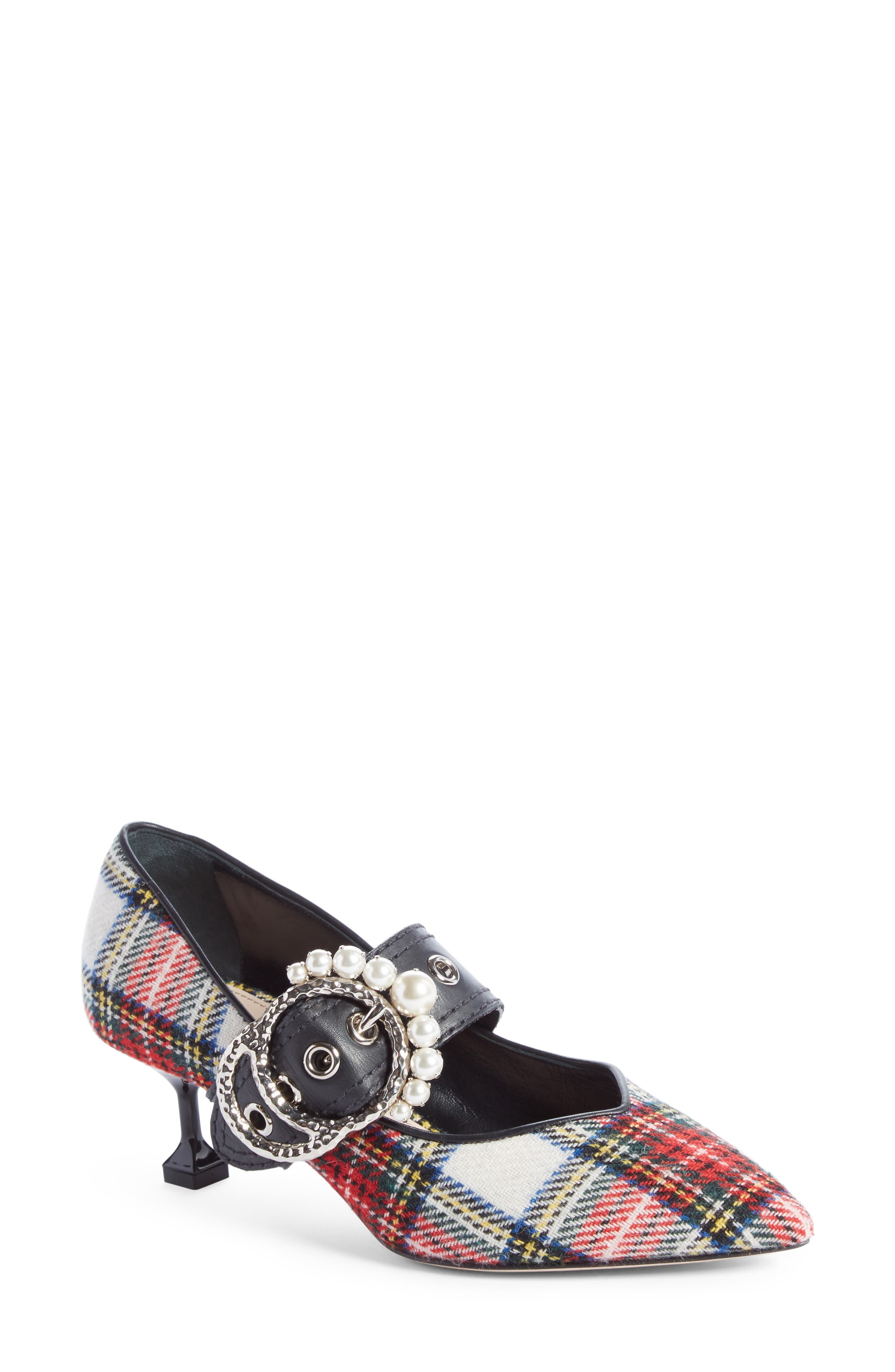 Embellished Buckle Pointy Toe Pump,                             Main thumbnail 1, color,                             Red/ Black