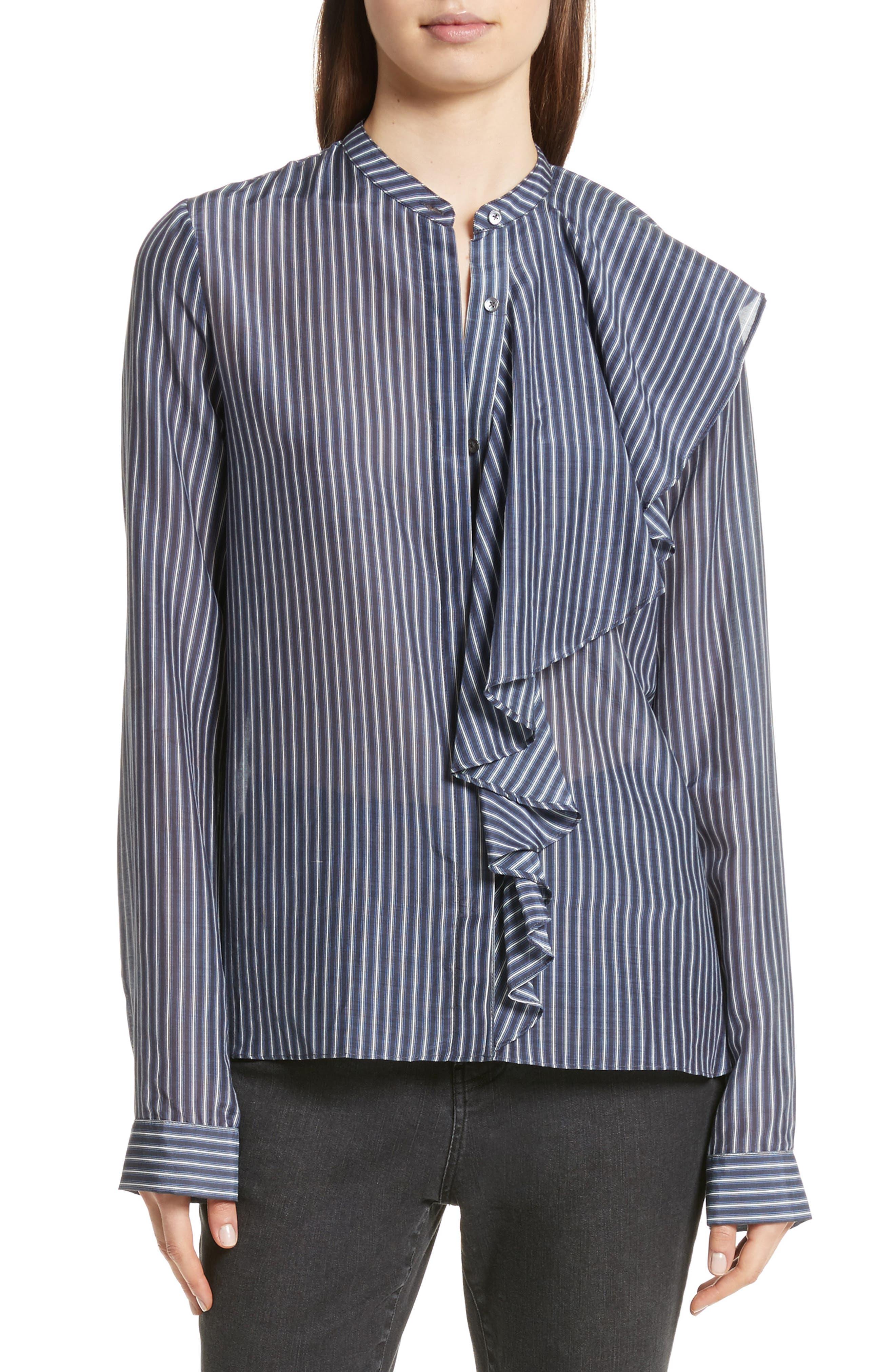 Vertical Stripe Ruffle Shirt,                         Main,                         color, Blue Stripe
