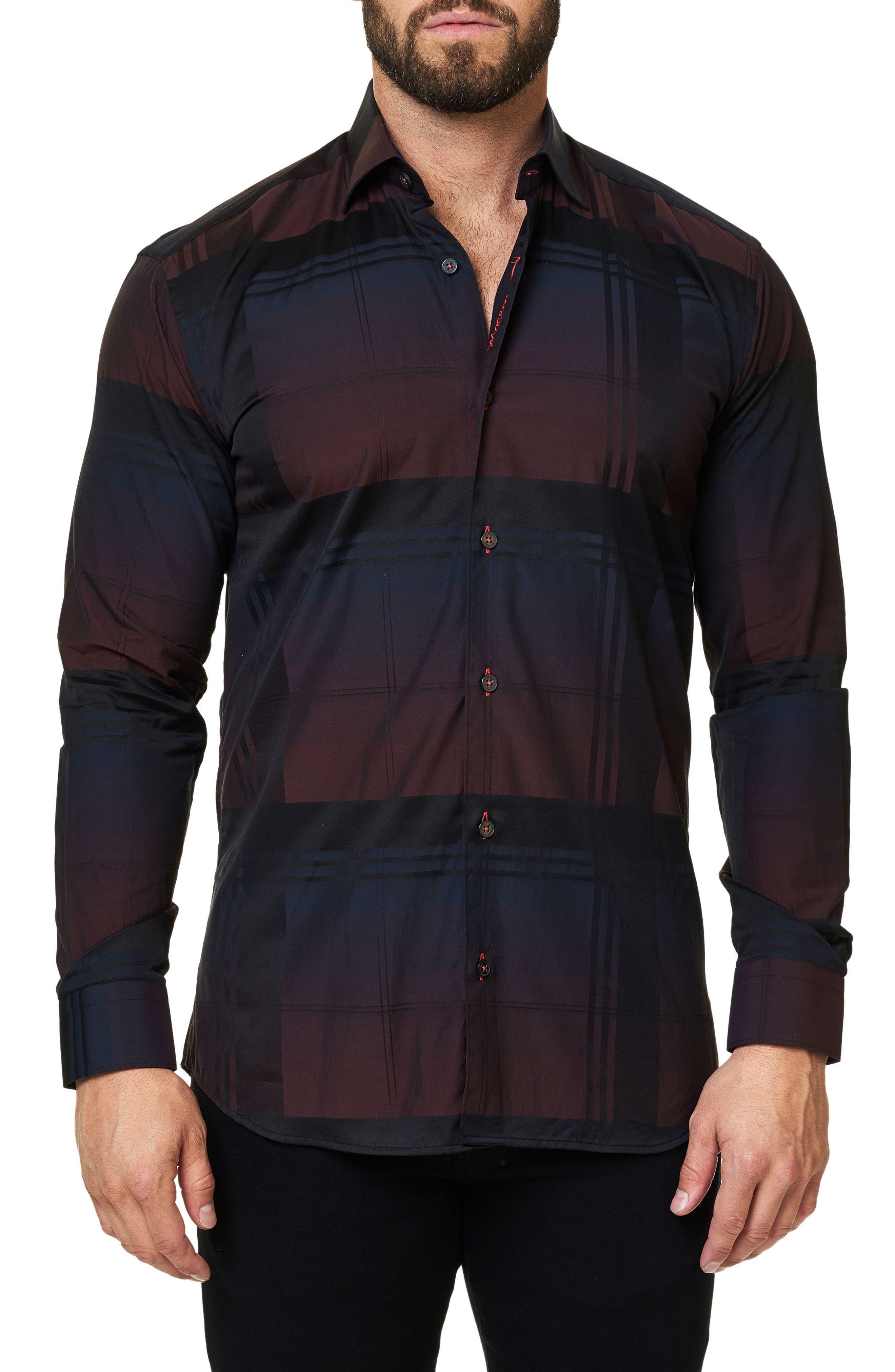 Trim Fit Plaid Sport Shirt,                             Alternate thumbnail 3, color,                             Black