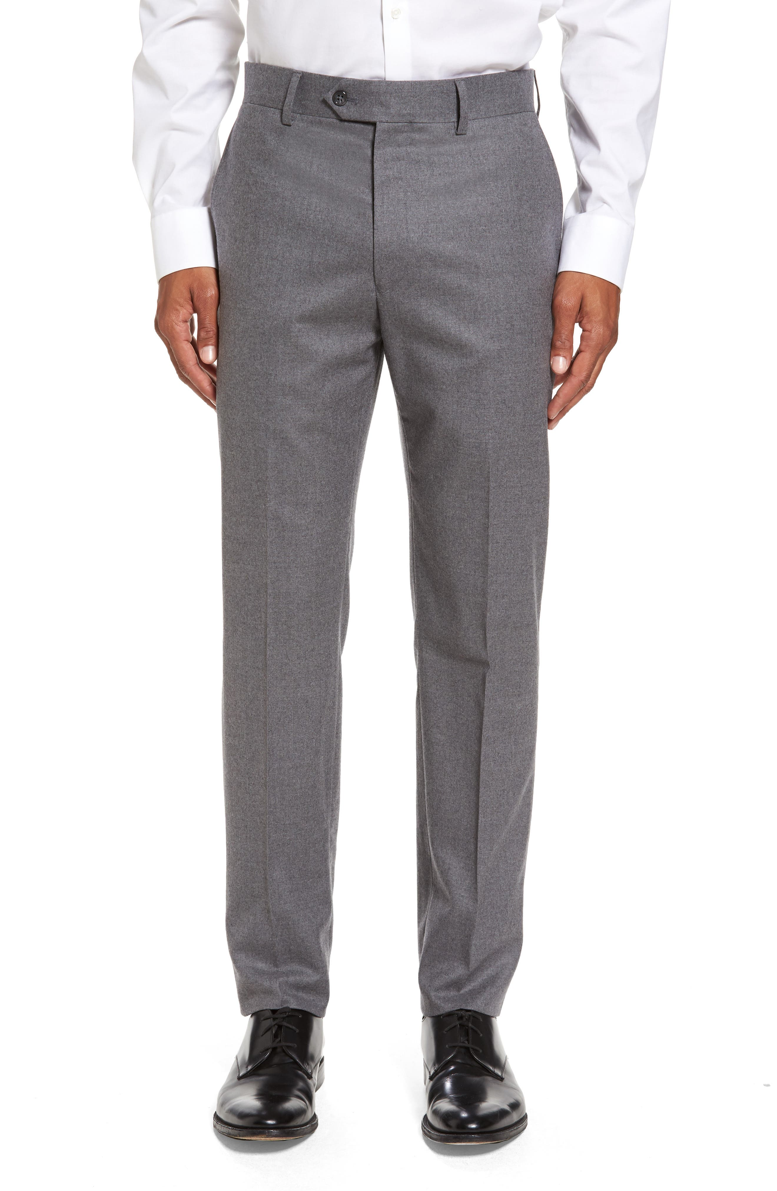 Sutton Flat Front Stretch Wool Trousers,                             Main thumbnail 1, color,                             Light Grey