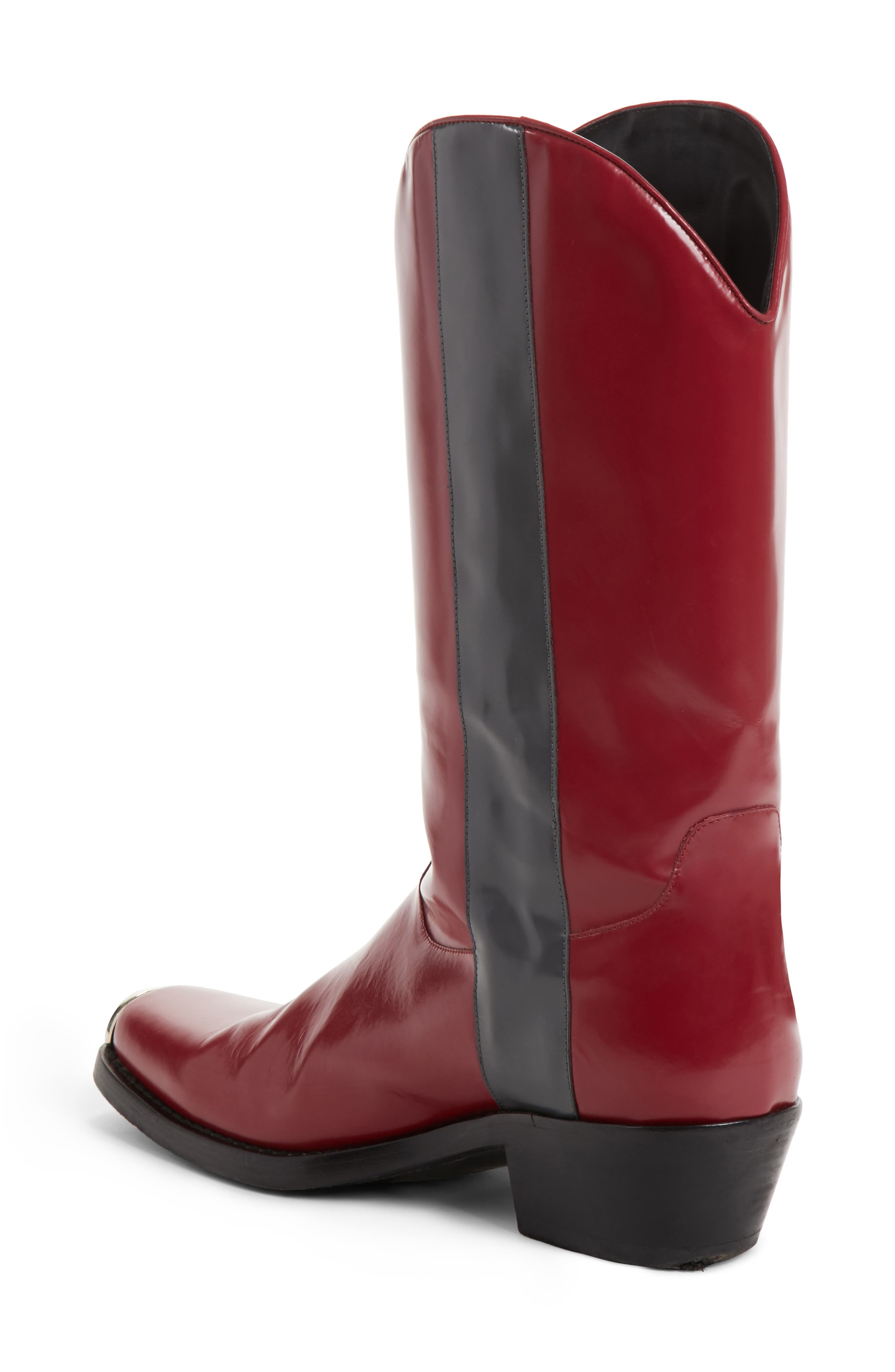 Chris Western Metal Tip Boot,                             Alternate thumbnail 2, color,                             Dark Red/ Anthracite Leather