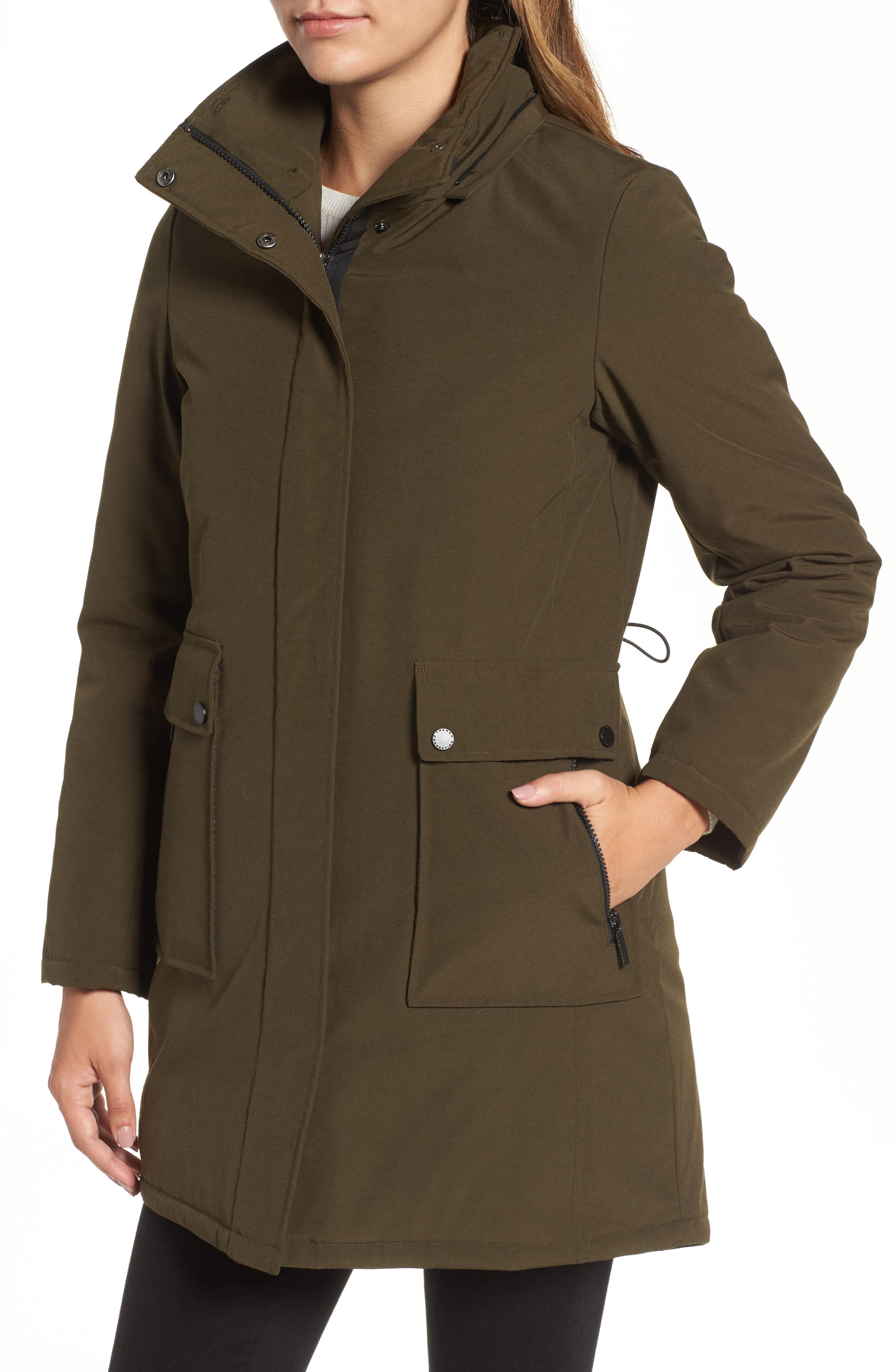 Hooded Anorak with Detachable Faux Fur Collar,                             Alternate thumbnail 4, color,                             Russian Pine