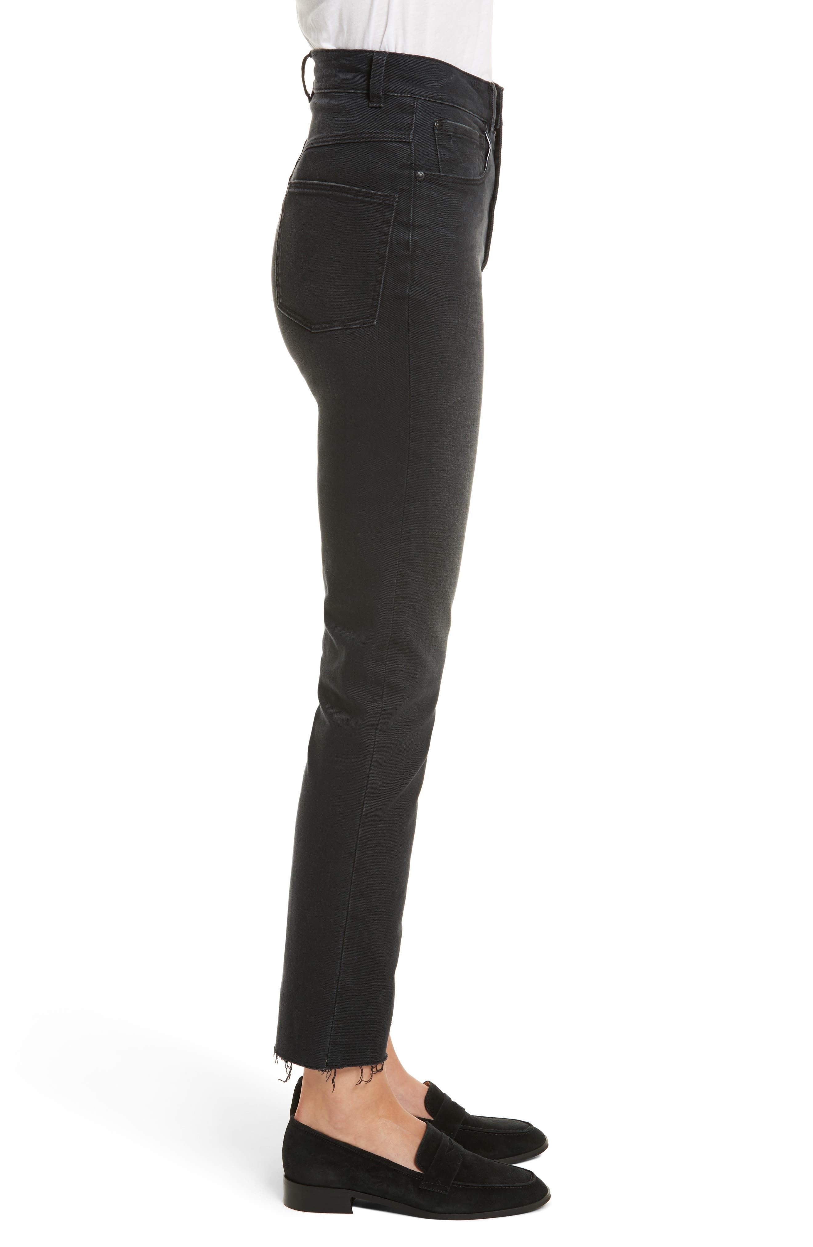 Ines Crop High Waist Skinny Jeans,                             Alternate thumbnail 3, color,                             Charcoal Wash