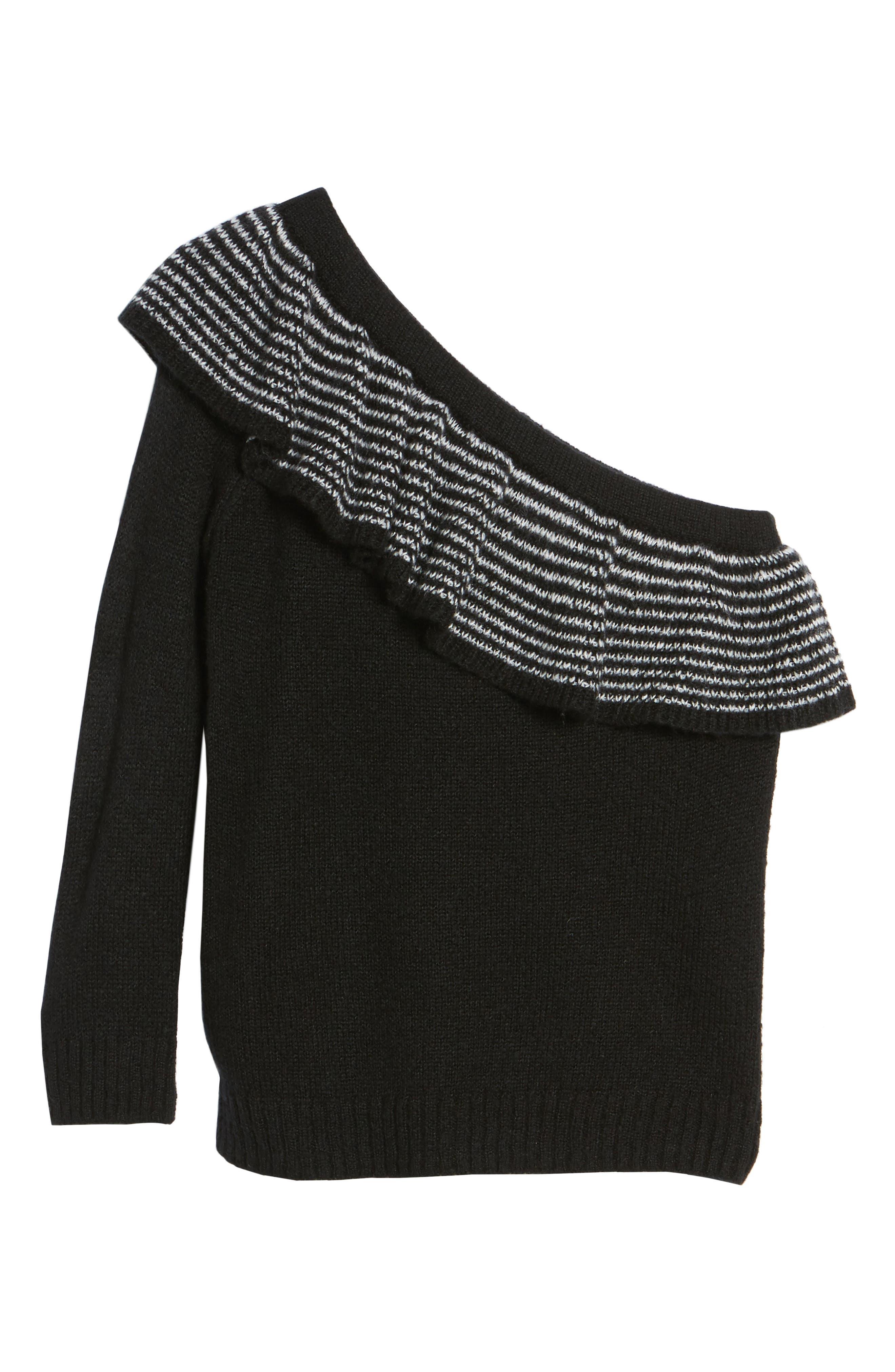 Ruffle One-Shoulder Sweater,                             Alternate thumbnail 6, color,                             Black