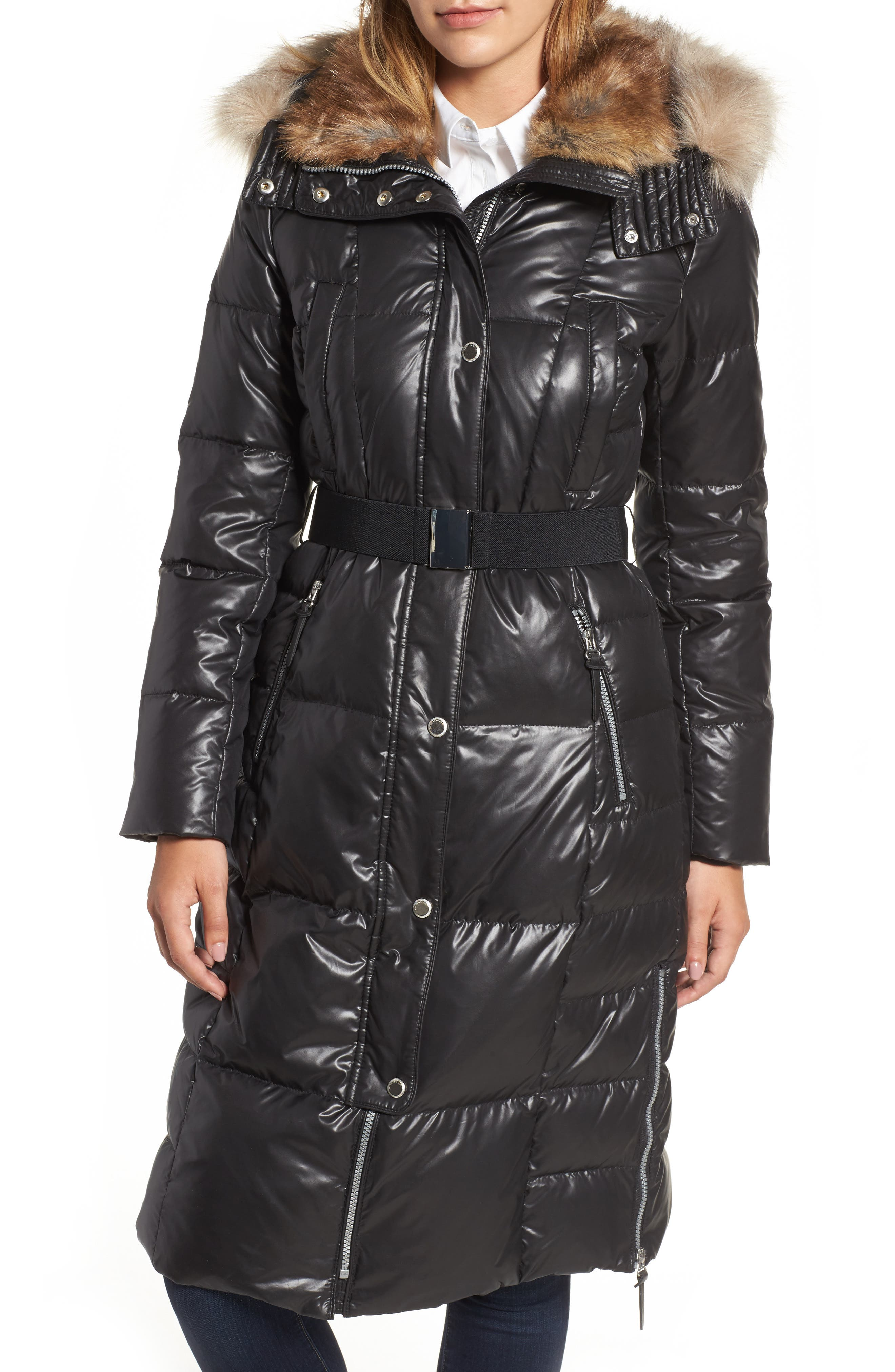 Lacquer Down Puffer Jacket with Faux Fur Hood,                         Main,                         color, Black