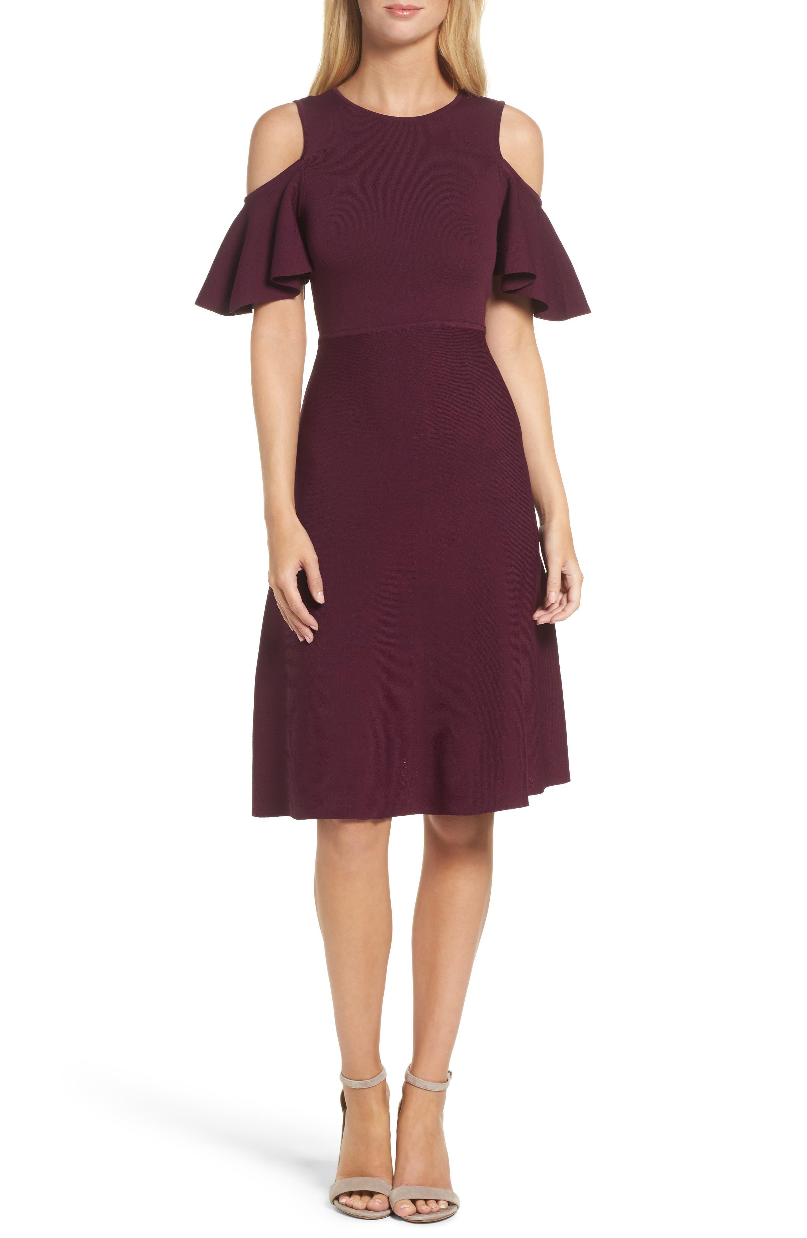 Eliza J Cold Shoulder Fit & Flare Dress