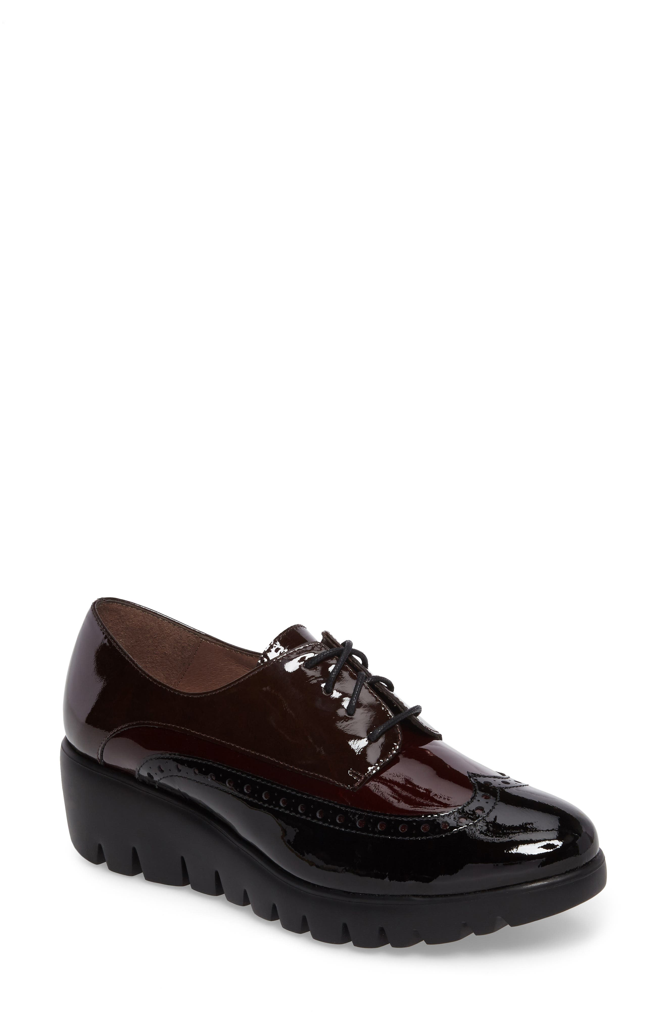 Wedge Wingtip Derby,                             Main thumbnail 1, color,                             Black/ Bordo Patent Leather