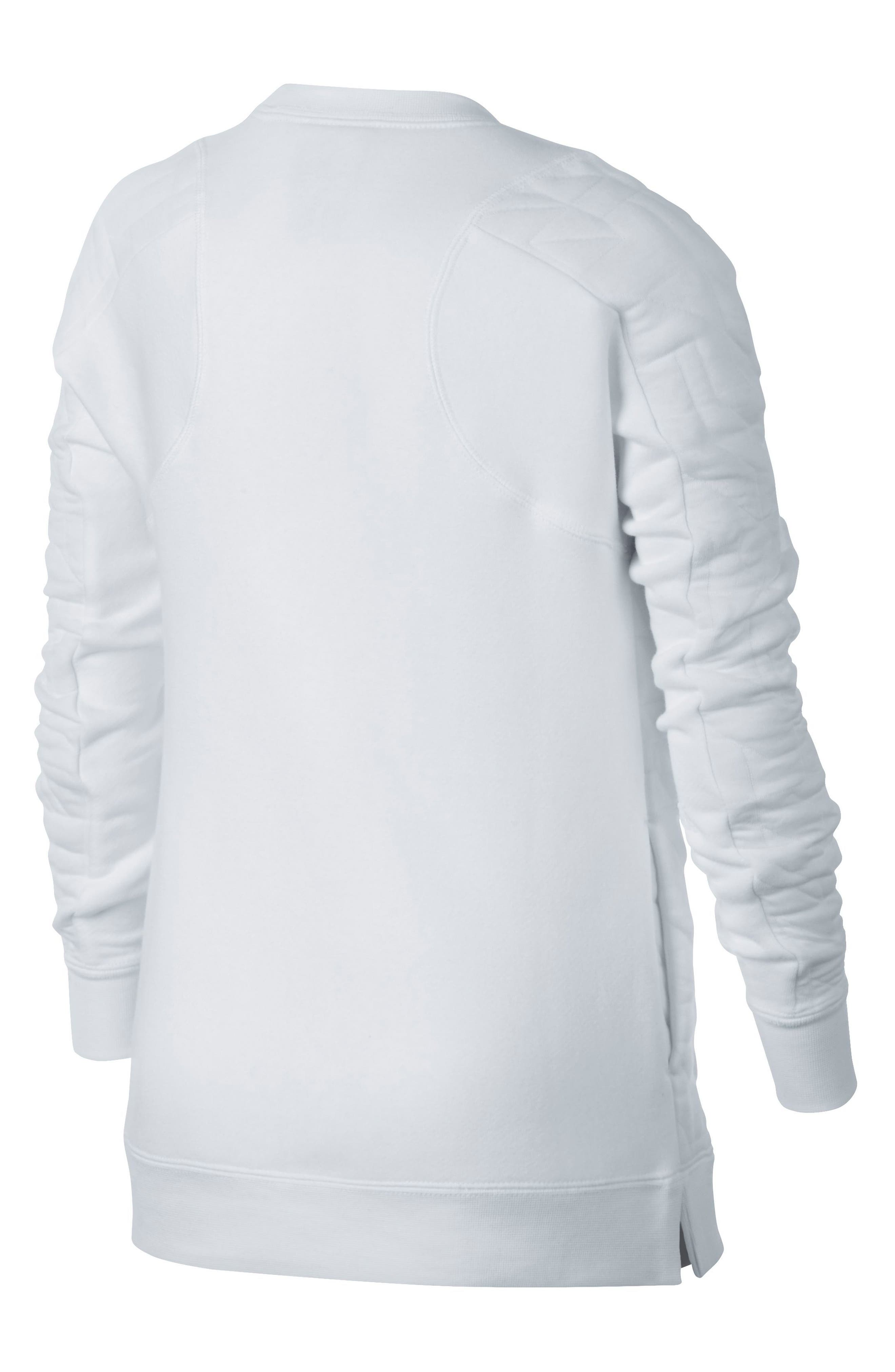 Modern Matelassé Sweatshirt,                             Alternate thumbnail 2, color,                             White/ Black