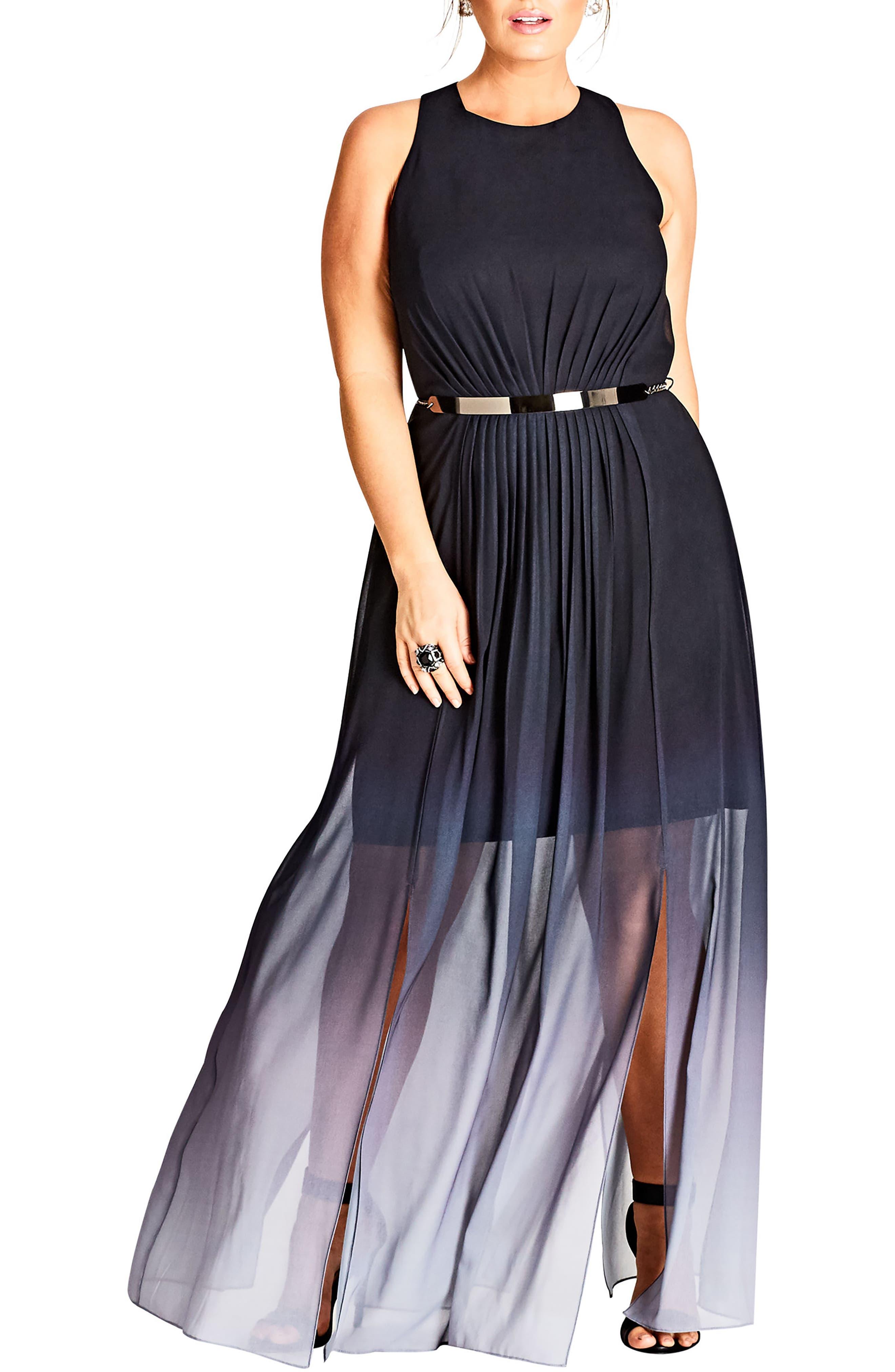 Alternate Image 1 Selected - City Chic Statement Ombré Maxi Dress (Plus Size)