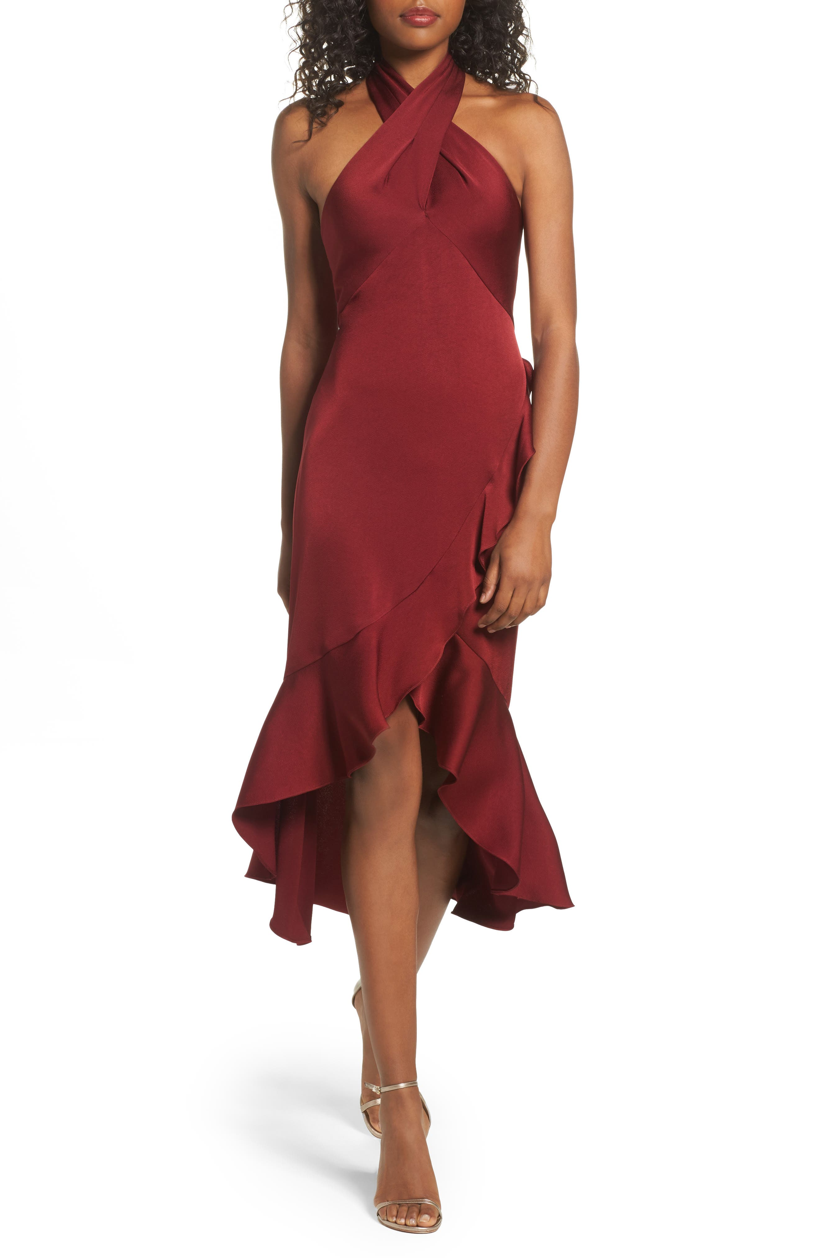 Boswell High/Low Halter Dress,                         Main,                         color, Port