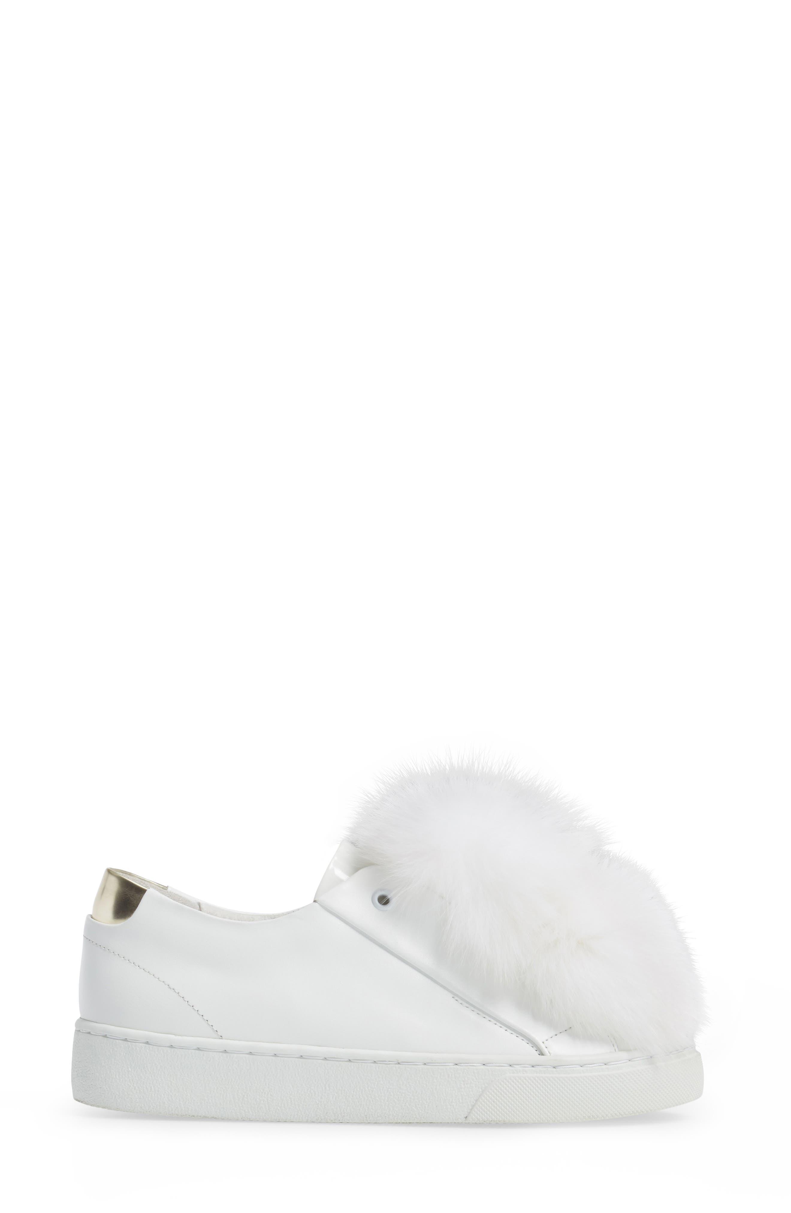 Sugar Genuine Fox Fur Slip-On Sneaker,                             Alternate thumbnail 3, color,                             White Leather
