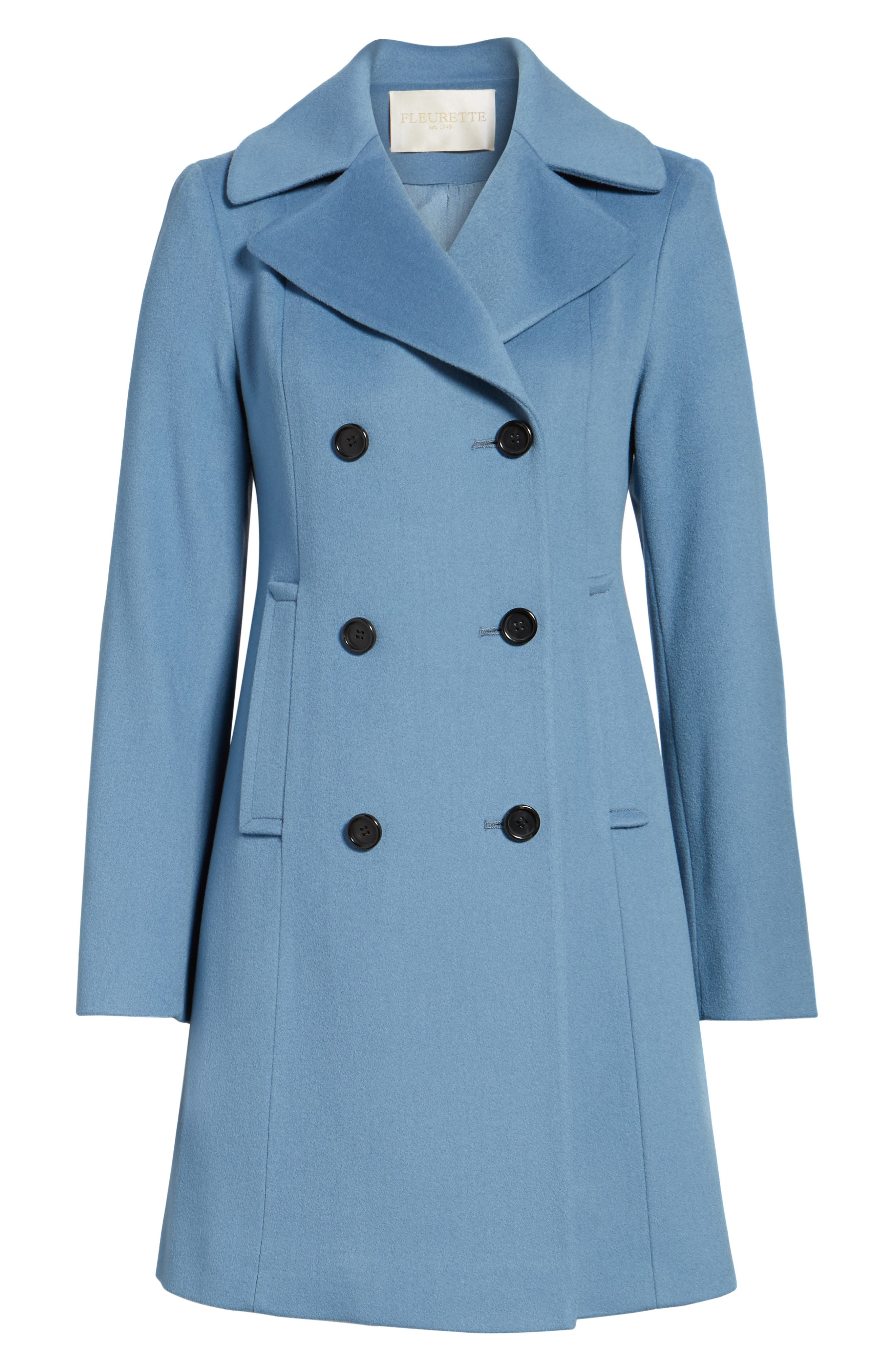 Double Breasted Loro Piana Wool Coat,                             Alternate thumbnail 6, color,                             Cornflower