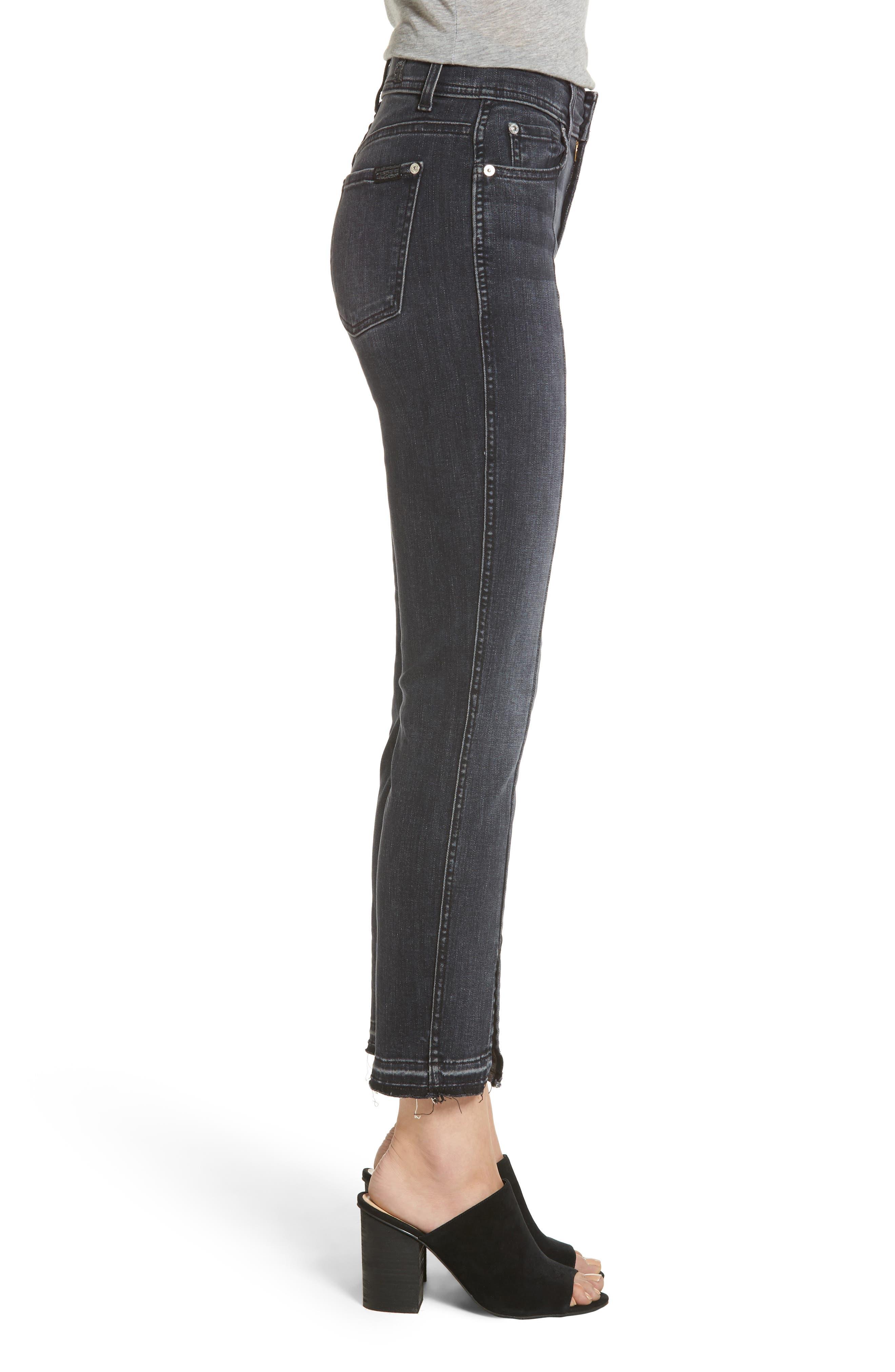 Alternate Image 3  - 7 For All Mankind® Split Hem Ankle Skinny Jeans (Vintage Noir)
