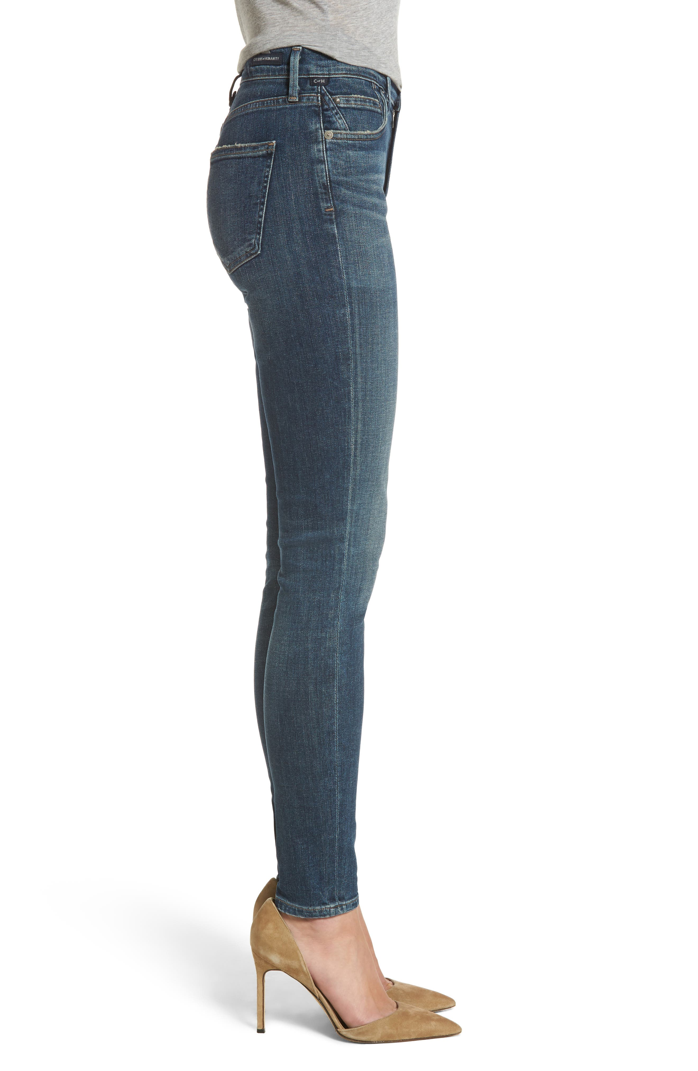 Rocket High Waist Skinny Jeans,                             Alternate thumbnail 3, color,                             Rival
