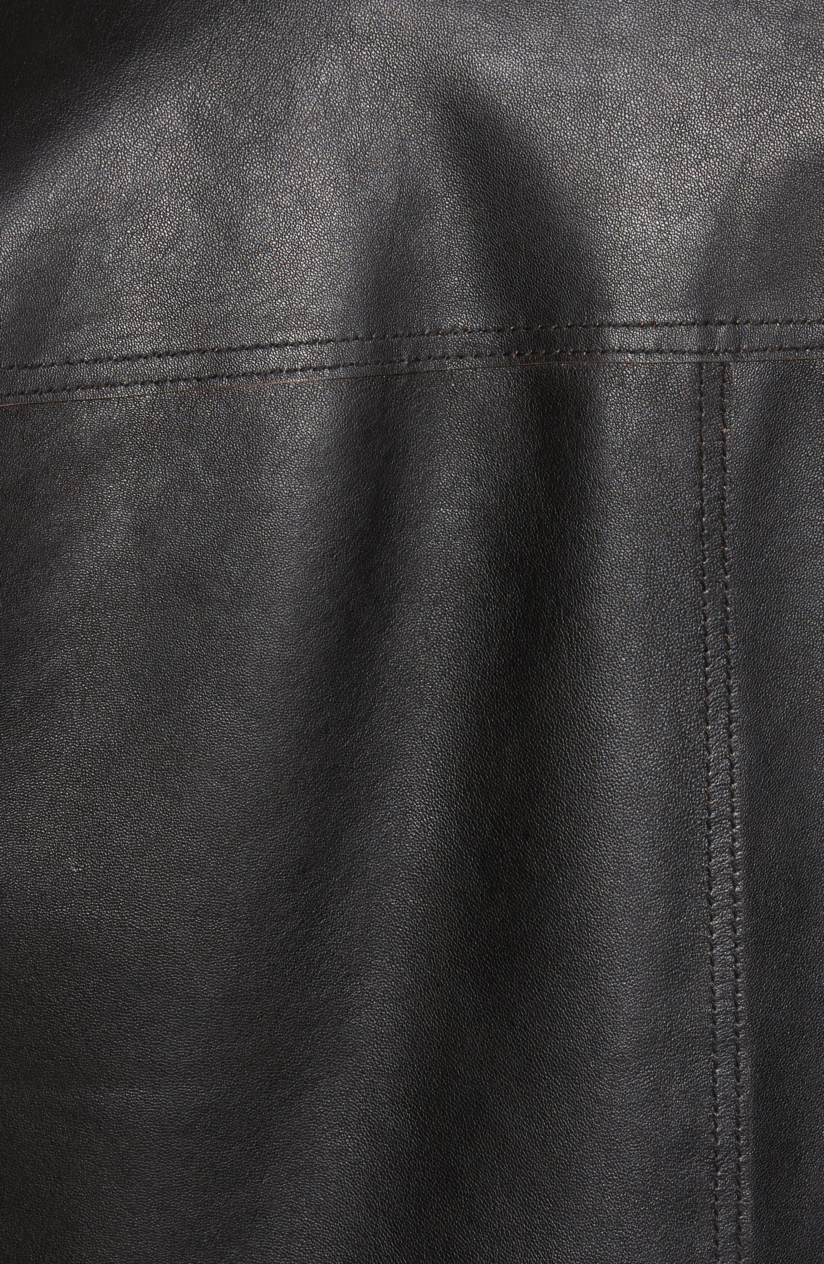 Reversible Leather Jacket,                             Alternate thumbnail 5, color,                             Black