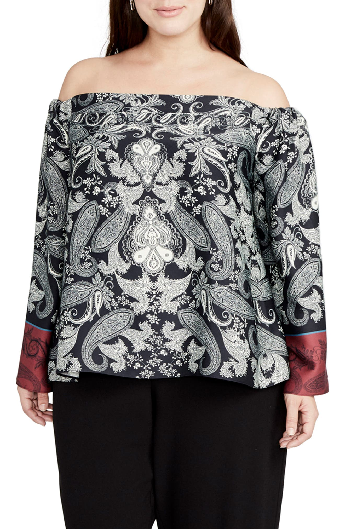 Placed Paisley Print Off the Shoulder Top,                         Main,                         color, Black/ Port Combo