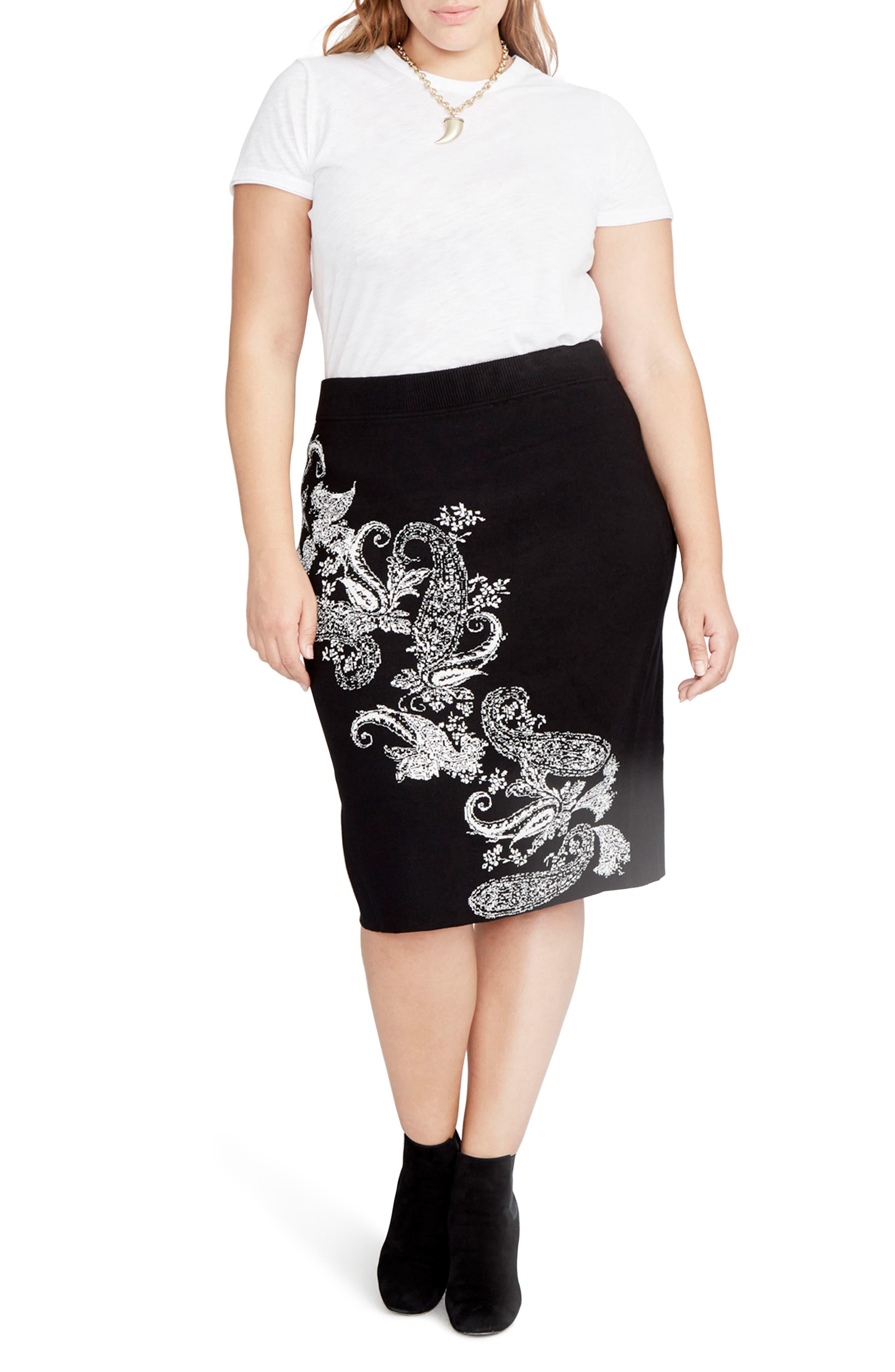 Paisley Knit Pencil Skirt,                         Main,                         color, Black/ Natural