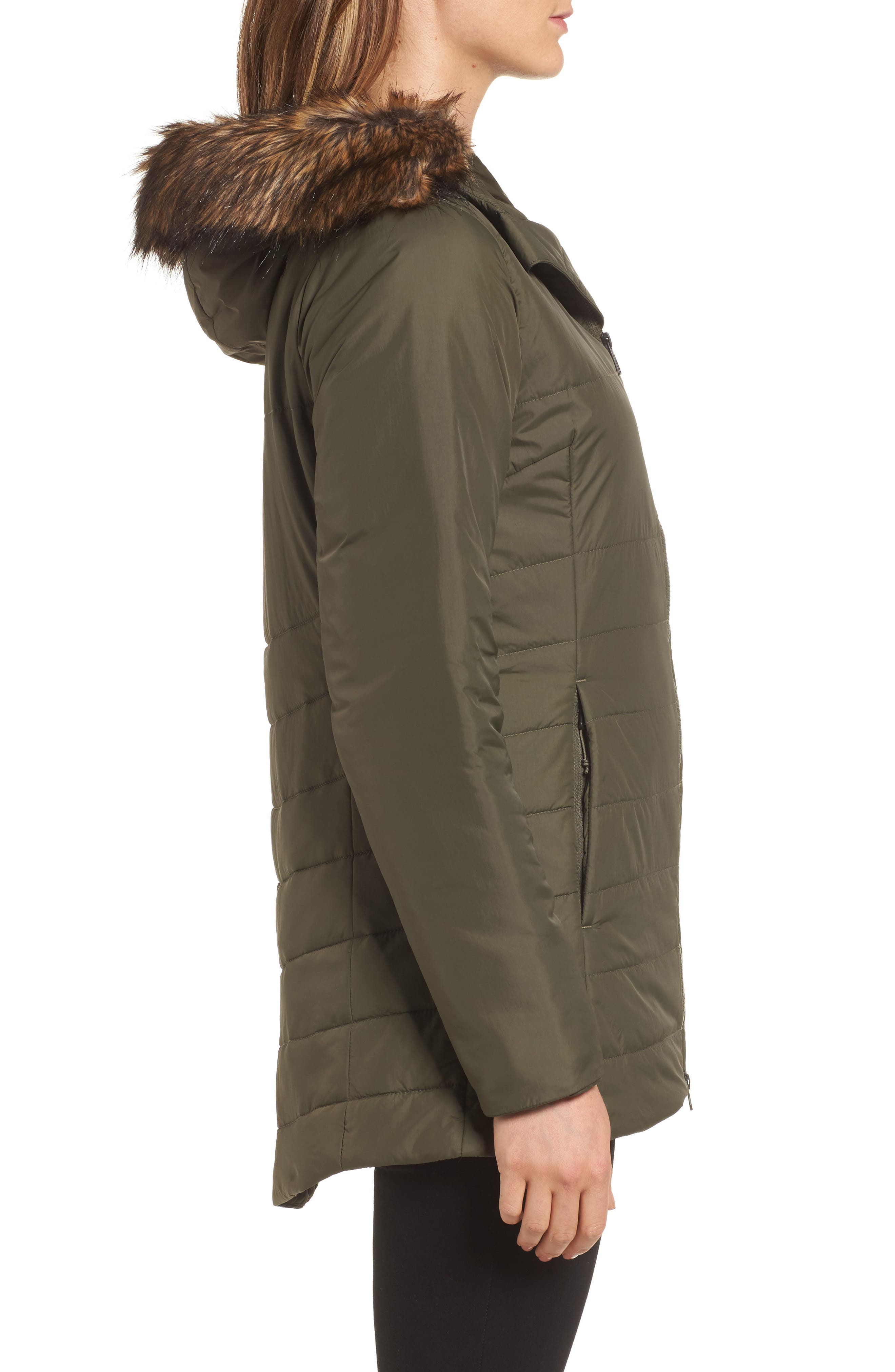 Harway Heatseeker<sup>™</sup> Water-Resistant Jacket with Faux Fur Trim,                             Alternate thumbnail 3, color,                             New Taupe Green