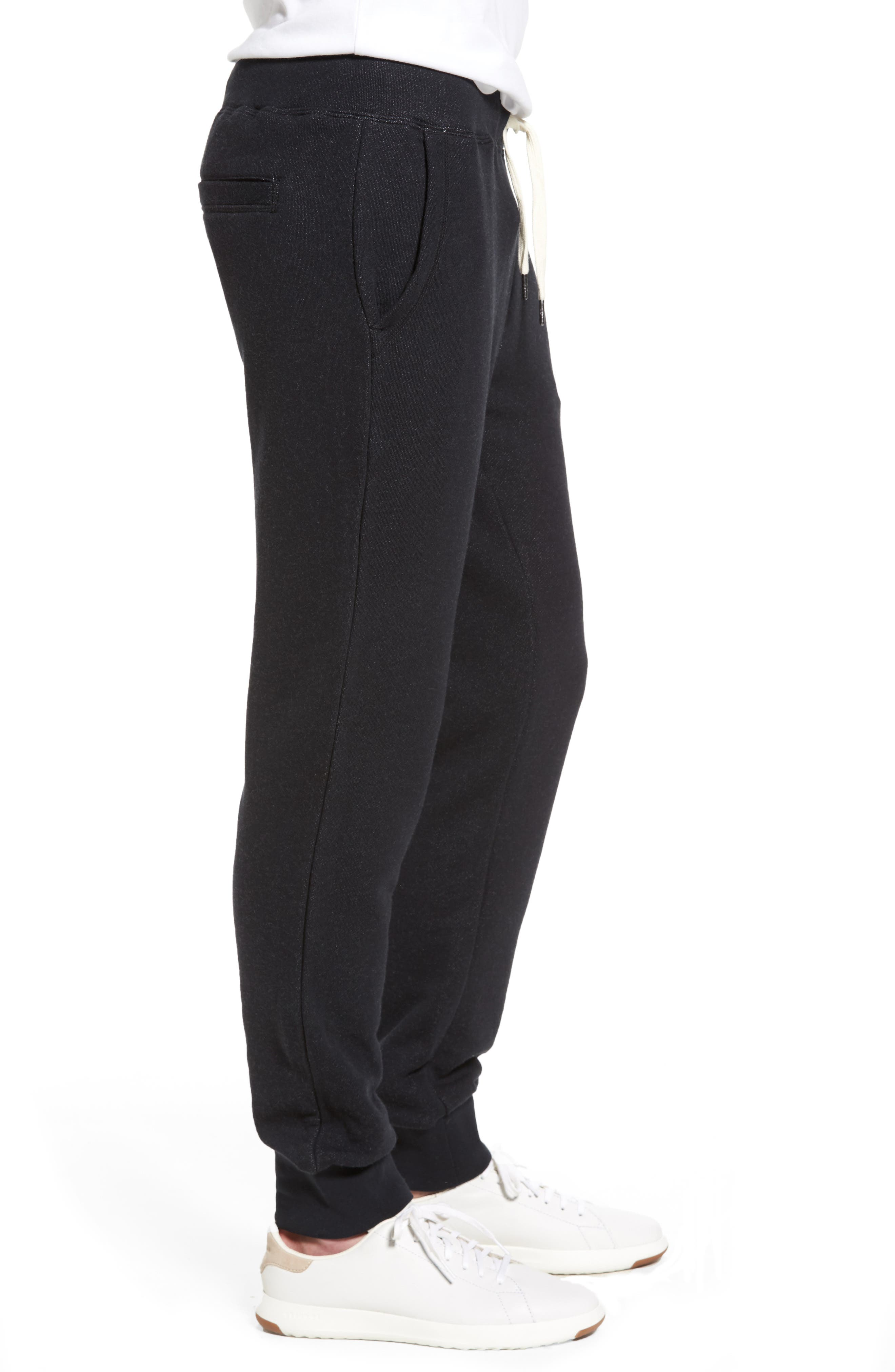 French Terry Jogger Pants,                             Alternate thumbnail 3, color,                             Black