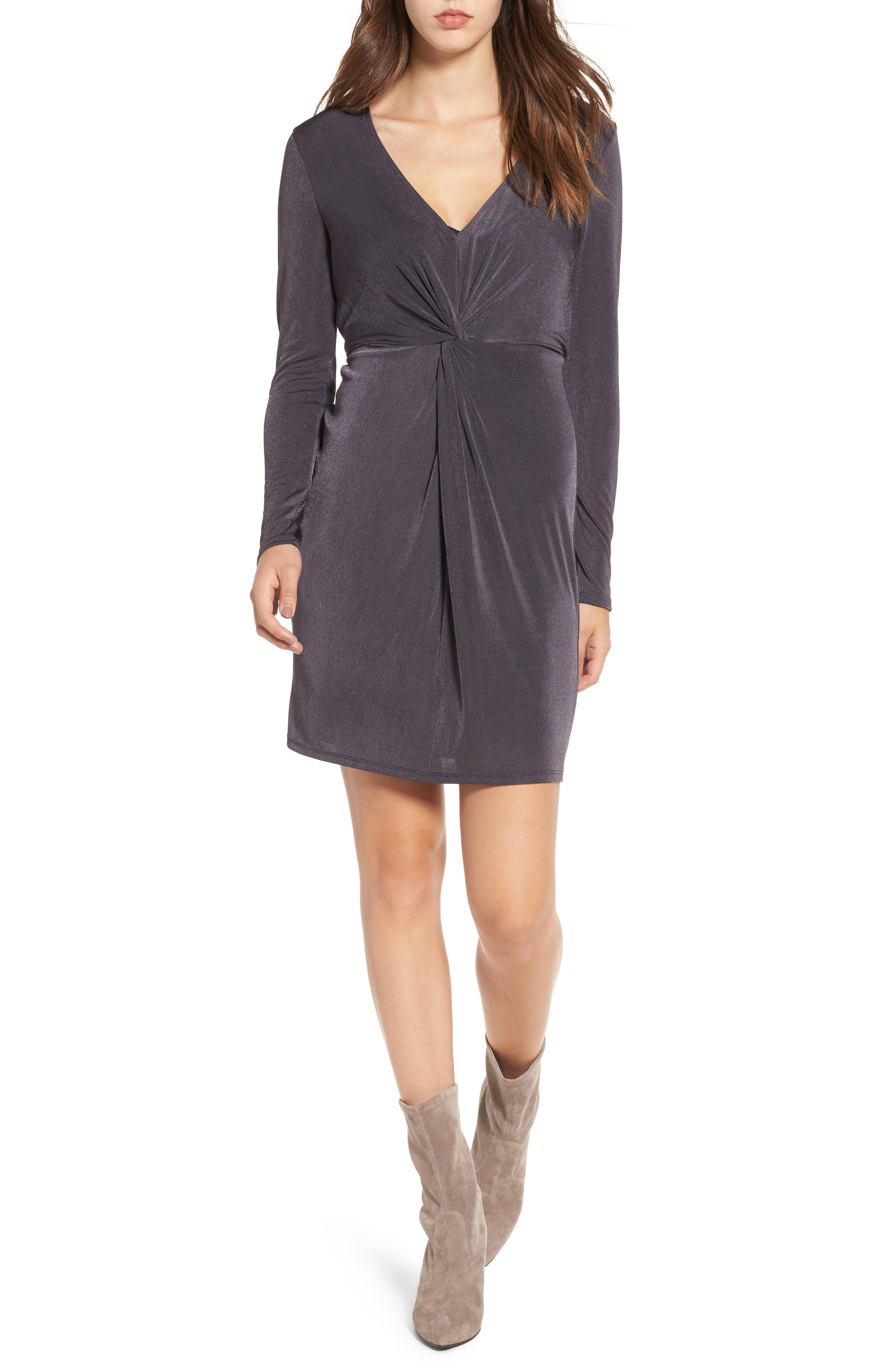 Twist Front Knit Dress,                         Main,                         color, Grey