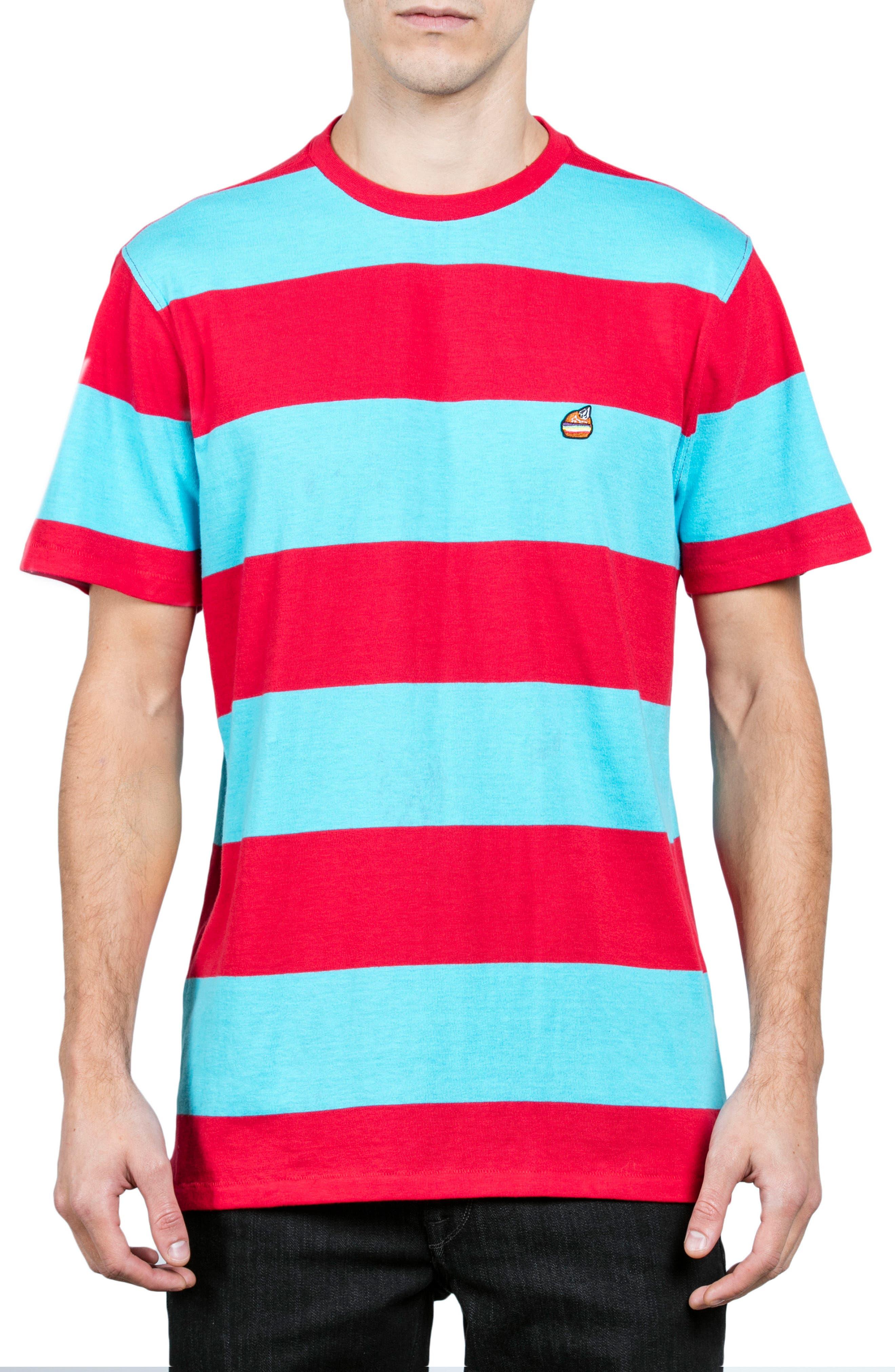 x Burger Records Stripe T-Shirt,                         Main,                         color, Blue