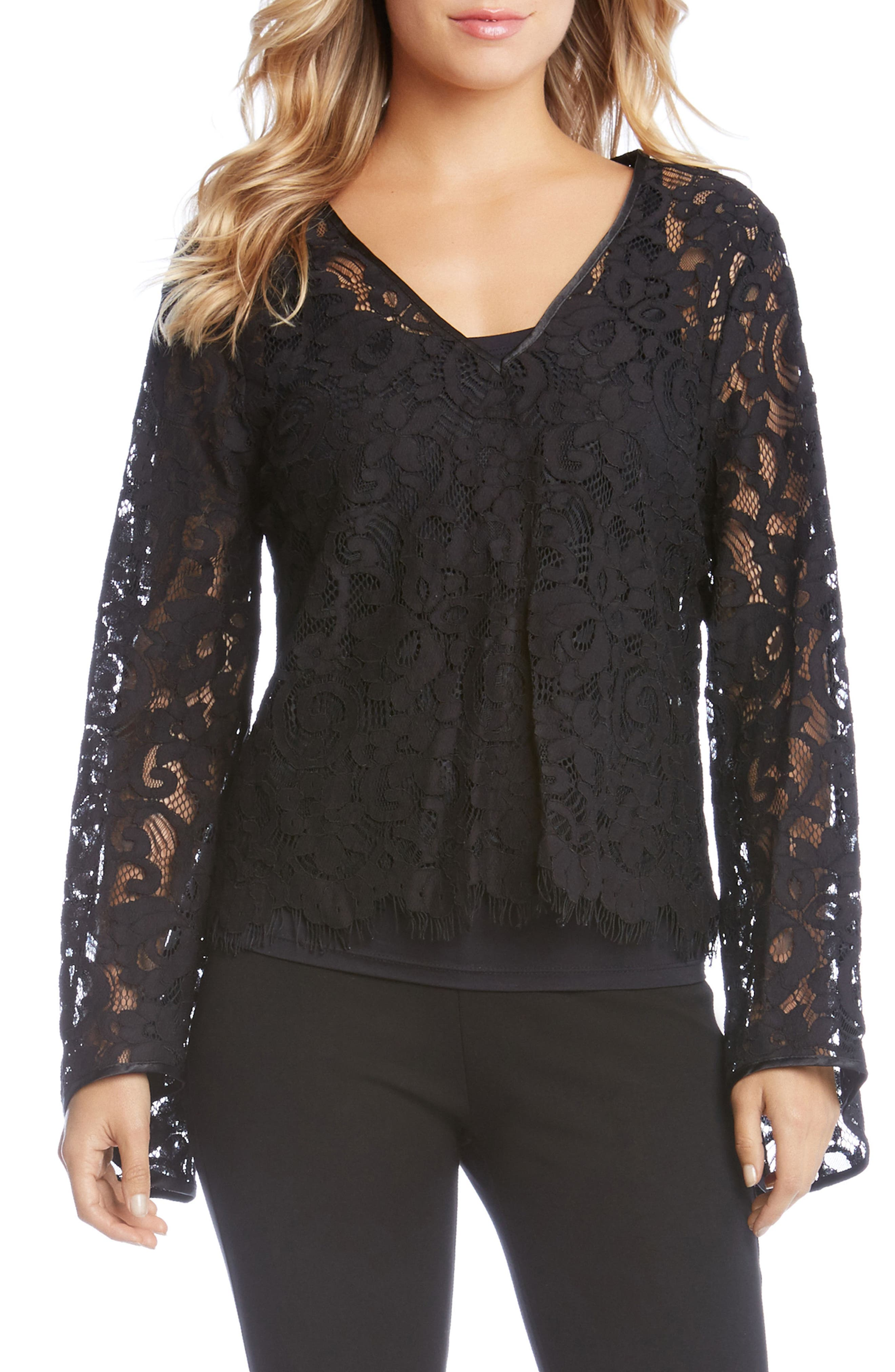 V-Neck Lace Top,                         Main,                         color, Black