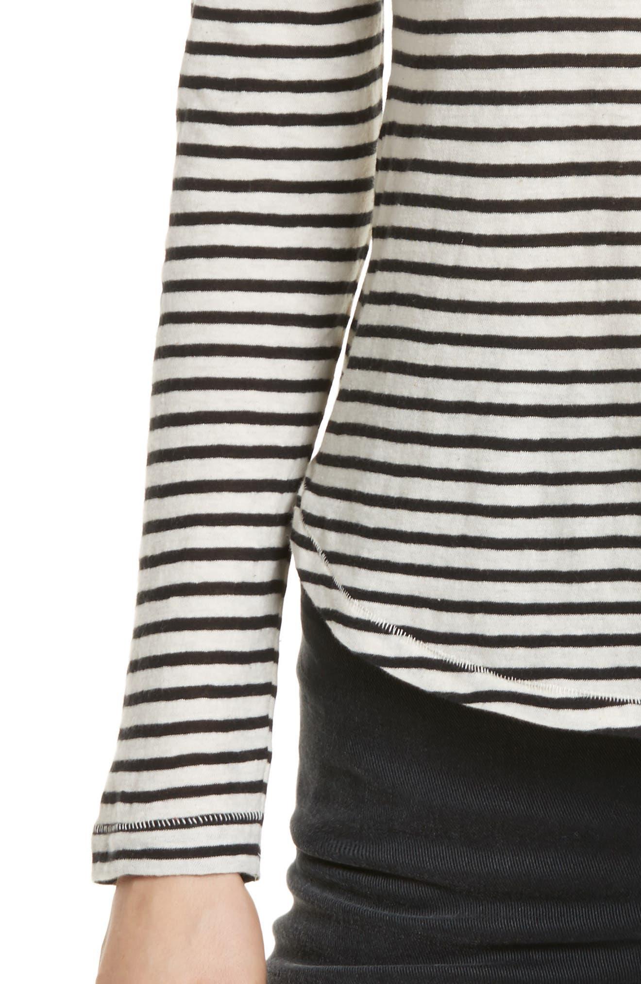 Long Sleeve Stripe Tee,                             Alternate thumbnail 4, color,                             Chalk/ Black