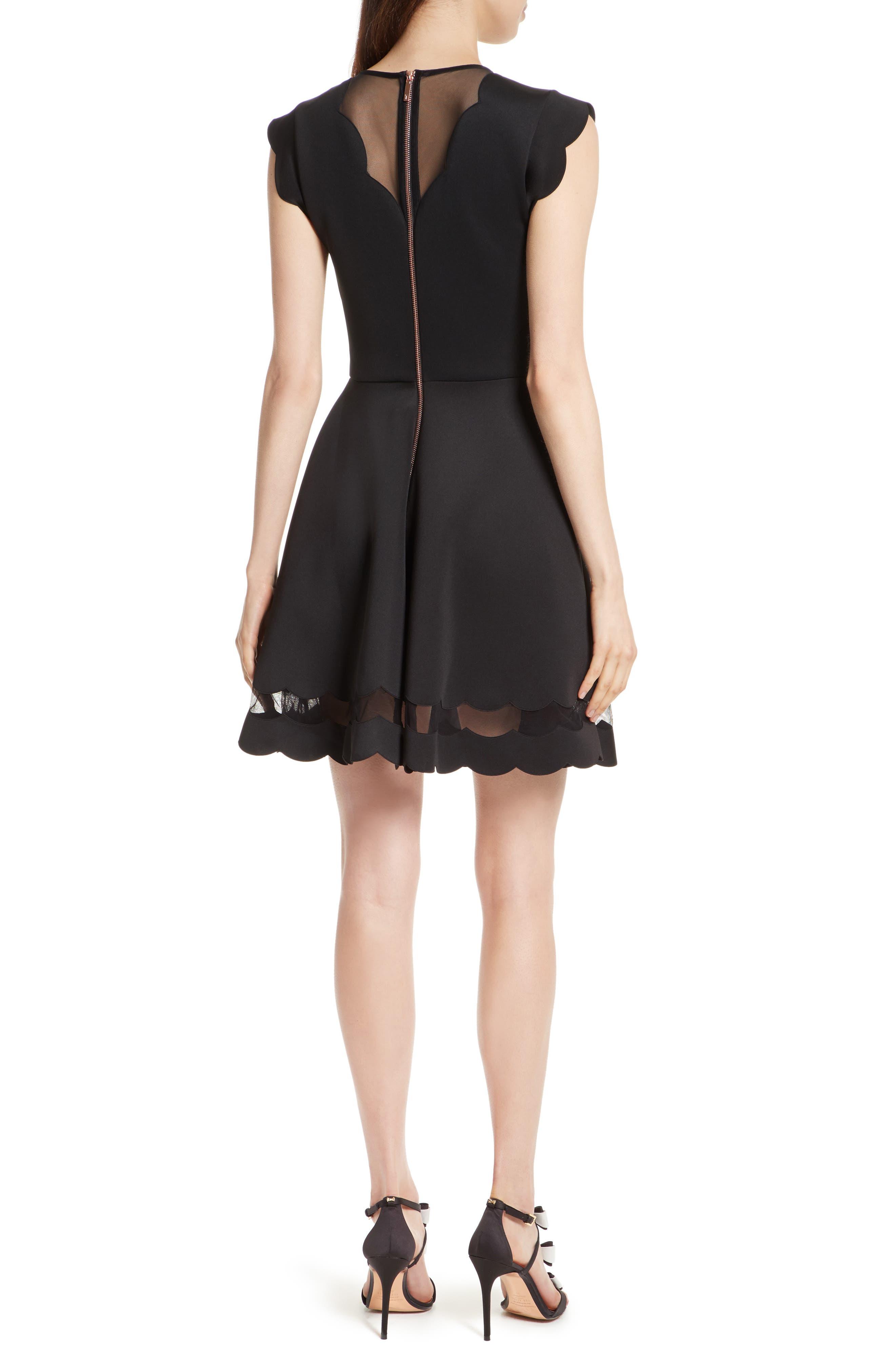 Mesh Panel Scallop Skater Dress,                             Alternate thumbnail 2, color,                             Black