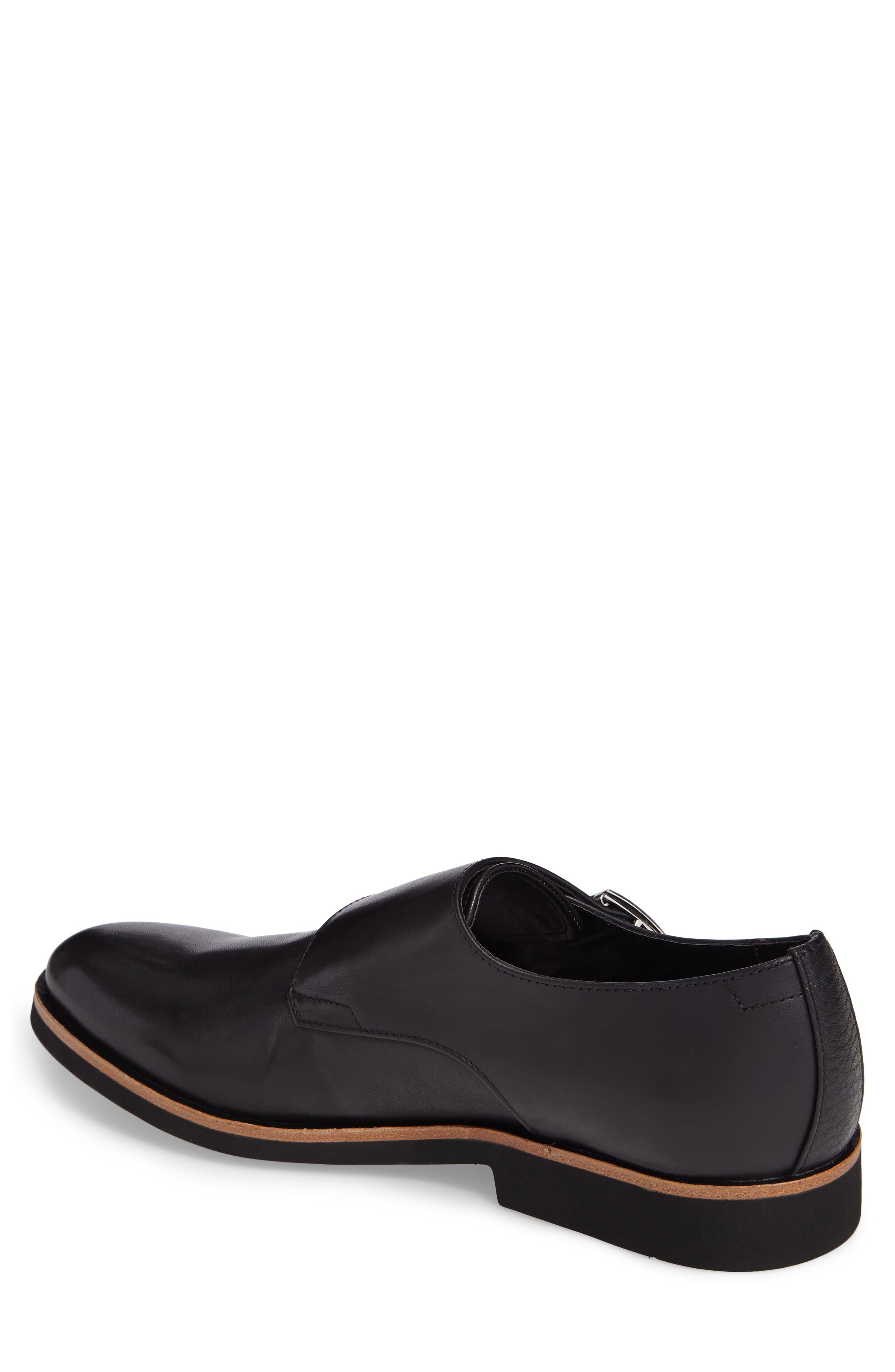 Finnegan Double Monk Strap Shoe,                             Alternate thumbnail 2, color,                             Black Leather