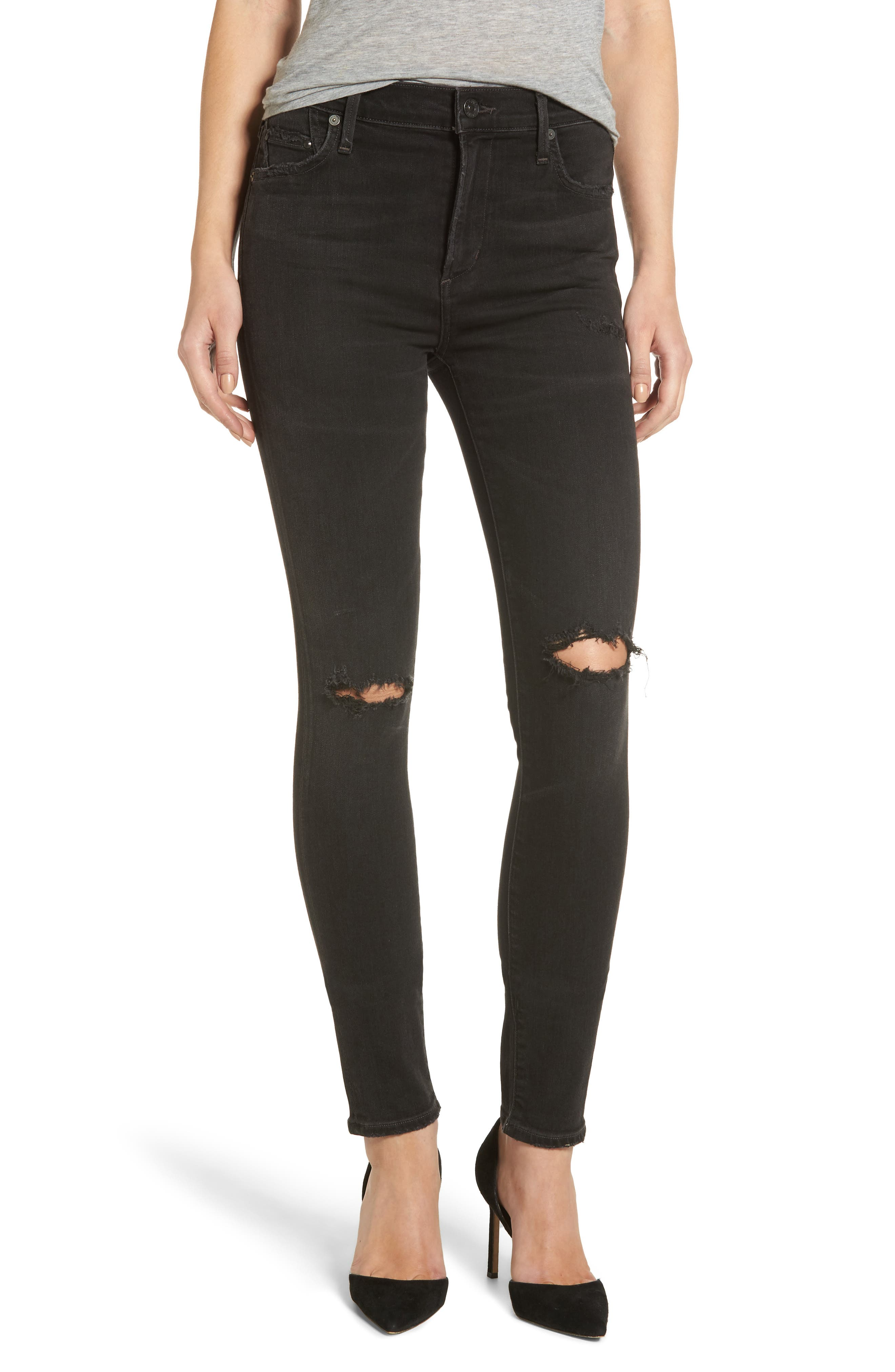 Rocket High Waist Skinny Jeans,                         Main,                         color, Distressed Darkness