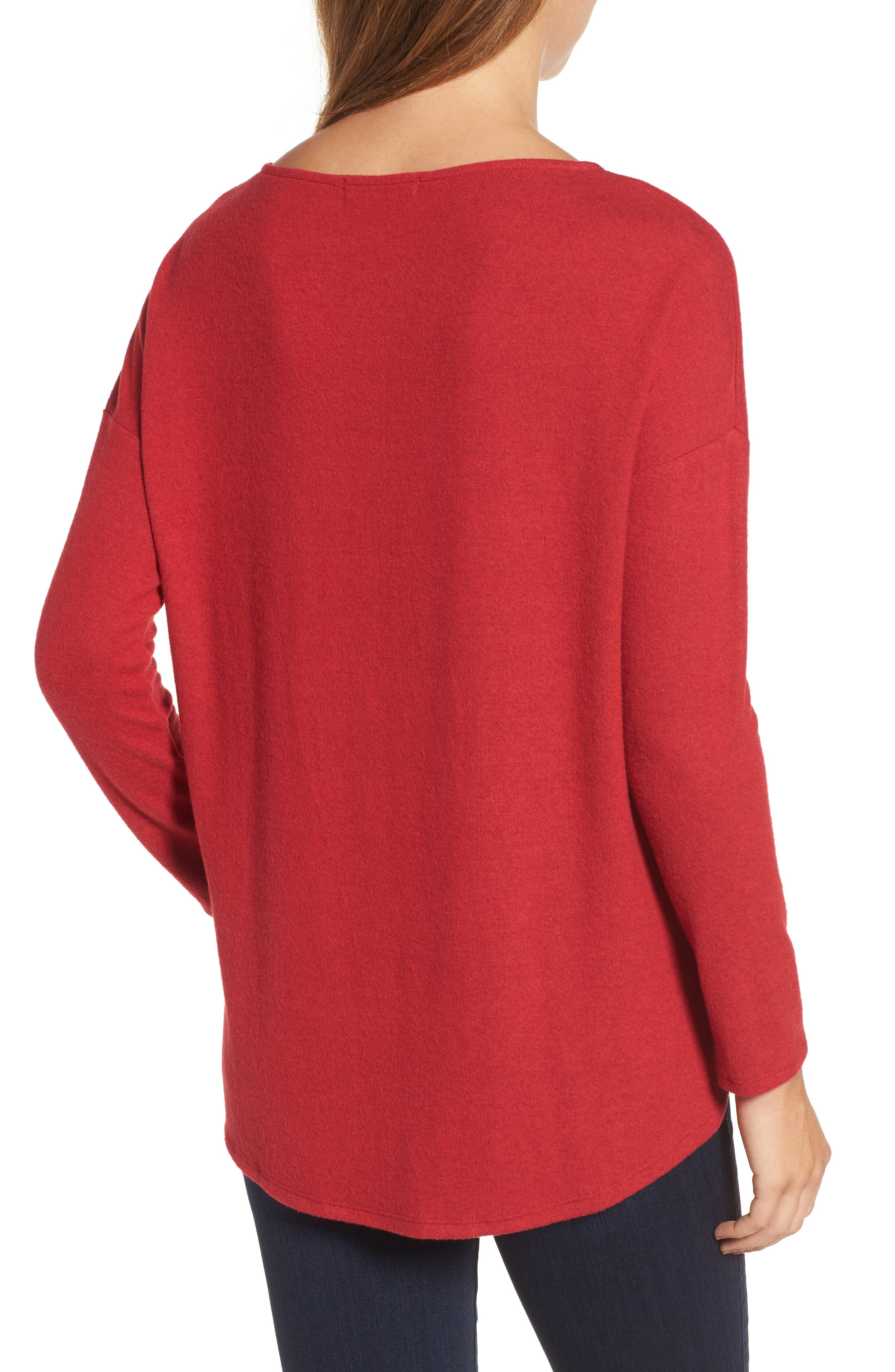 Alternate Image 2  - Gibson Cozy Fleece Ballet Neck High/Low Pullover (Regular & Petite)