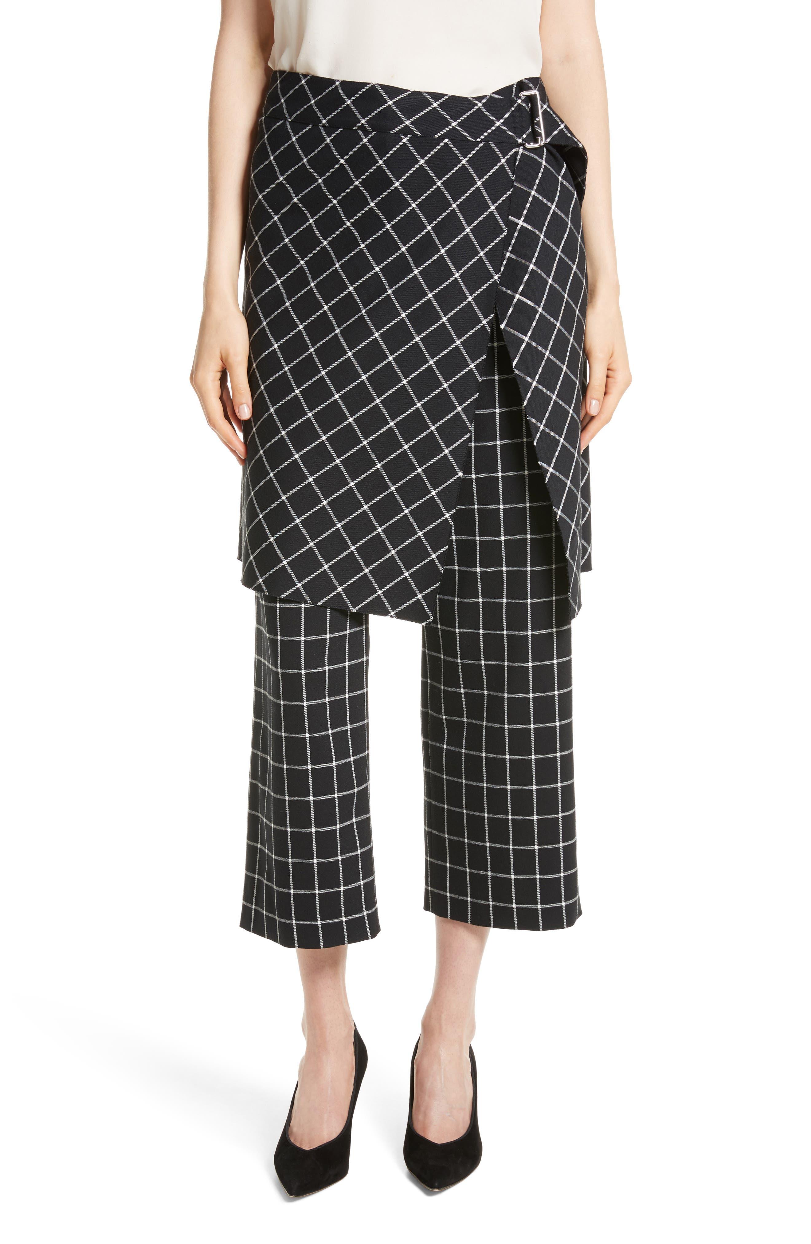 Grid Print Skirted Pants,                         Main,                         color, Black/ White Plaid