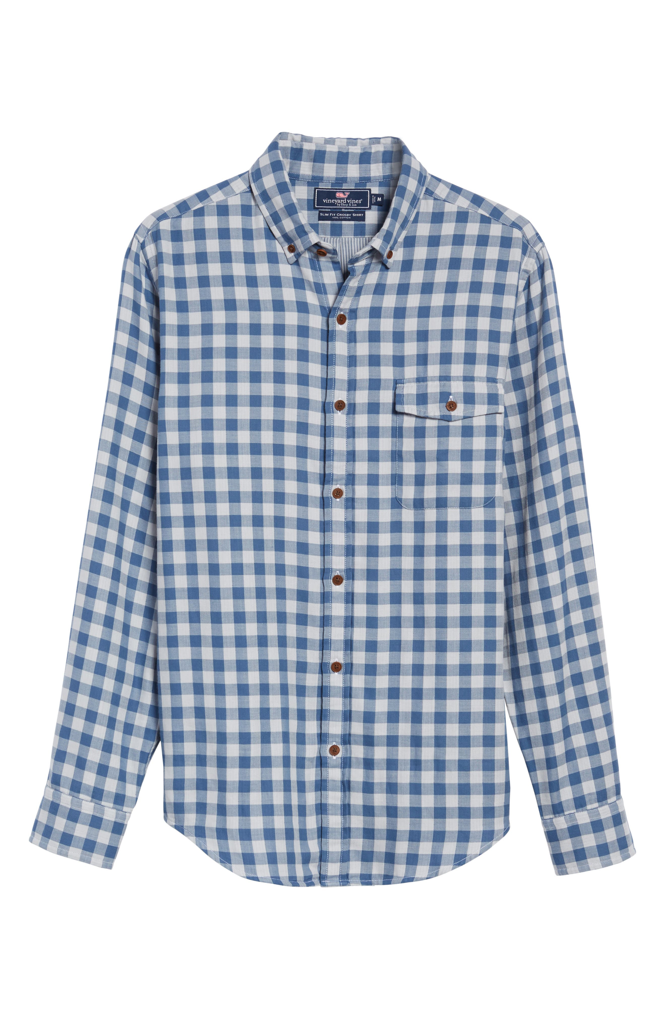 Crosby Slim Blue Heron Gingham Sport Shirt,                             Alternate thumbnail 6, color,                             Moonshine