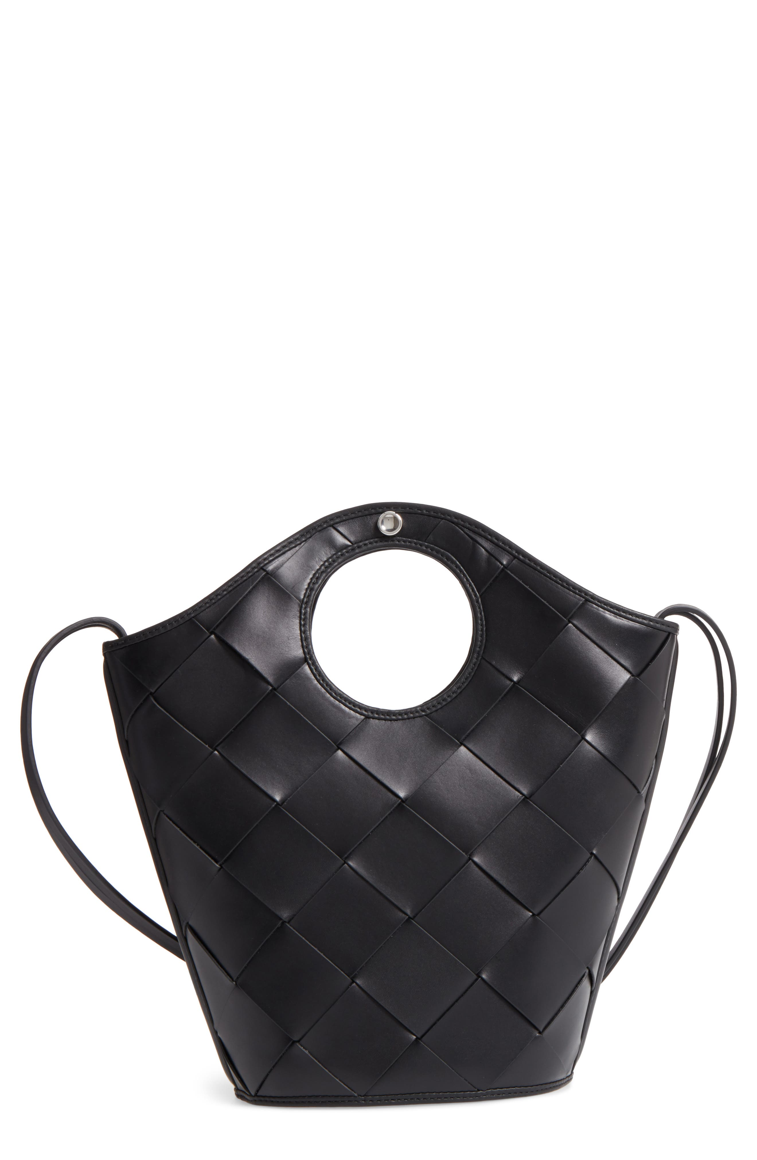 Alternate Image 1 Selected - Elizabeth and James Small Market Woven Leather Crossbody Shopper