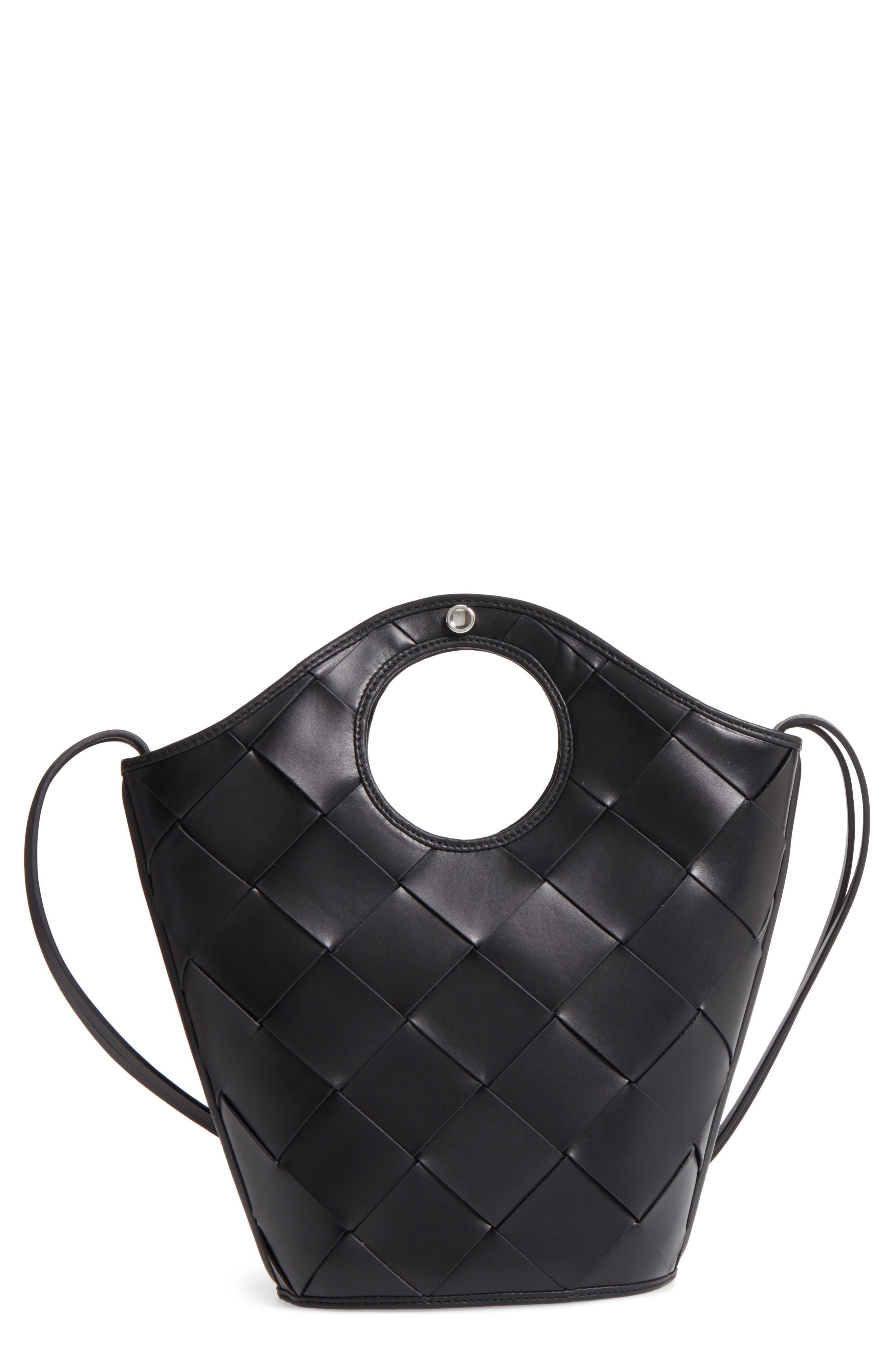 Small Market Woven Leather Crossbody Shopper,                             Main thumbnail 1, color,                             Black