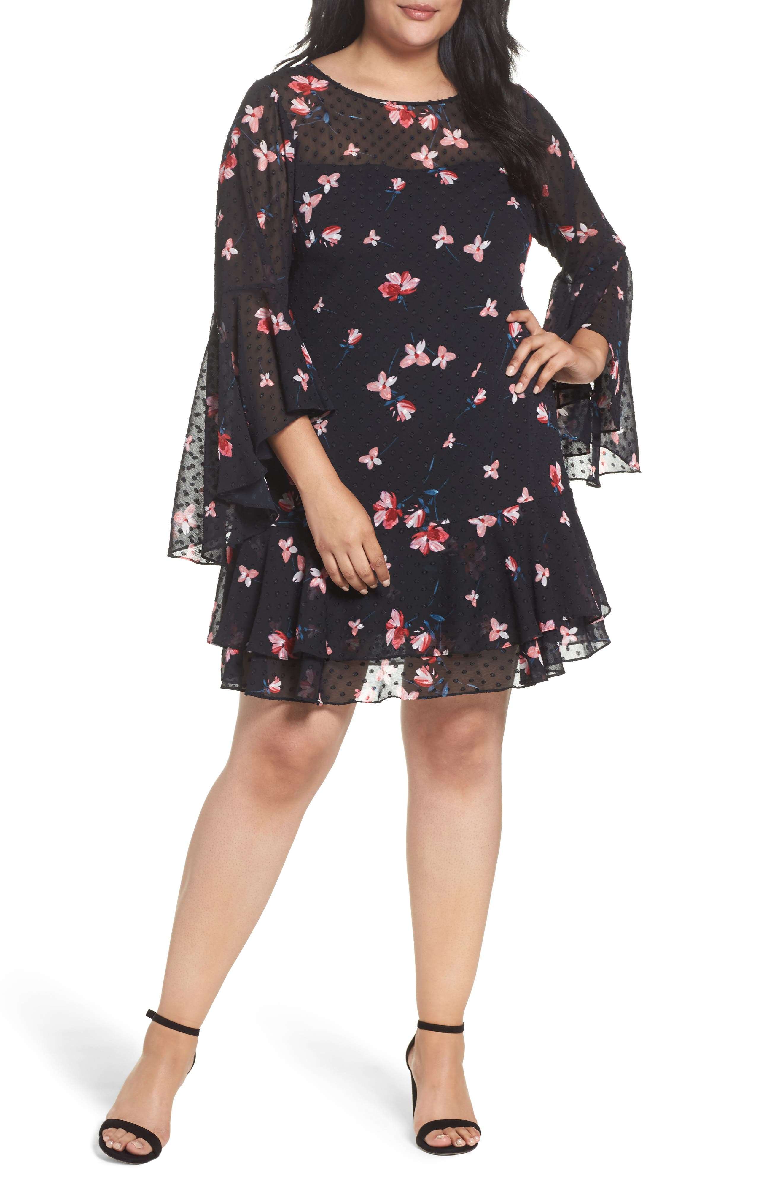 Ruffle Fit & Flare Dress,                         Main,                         color, Black/ Pink