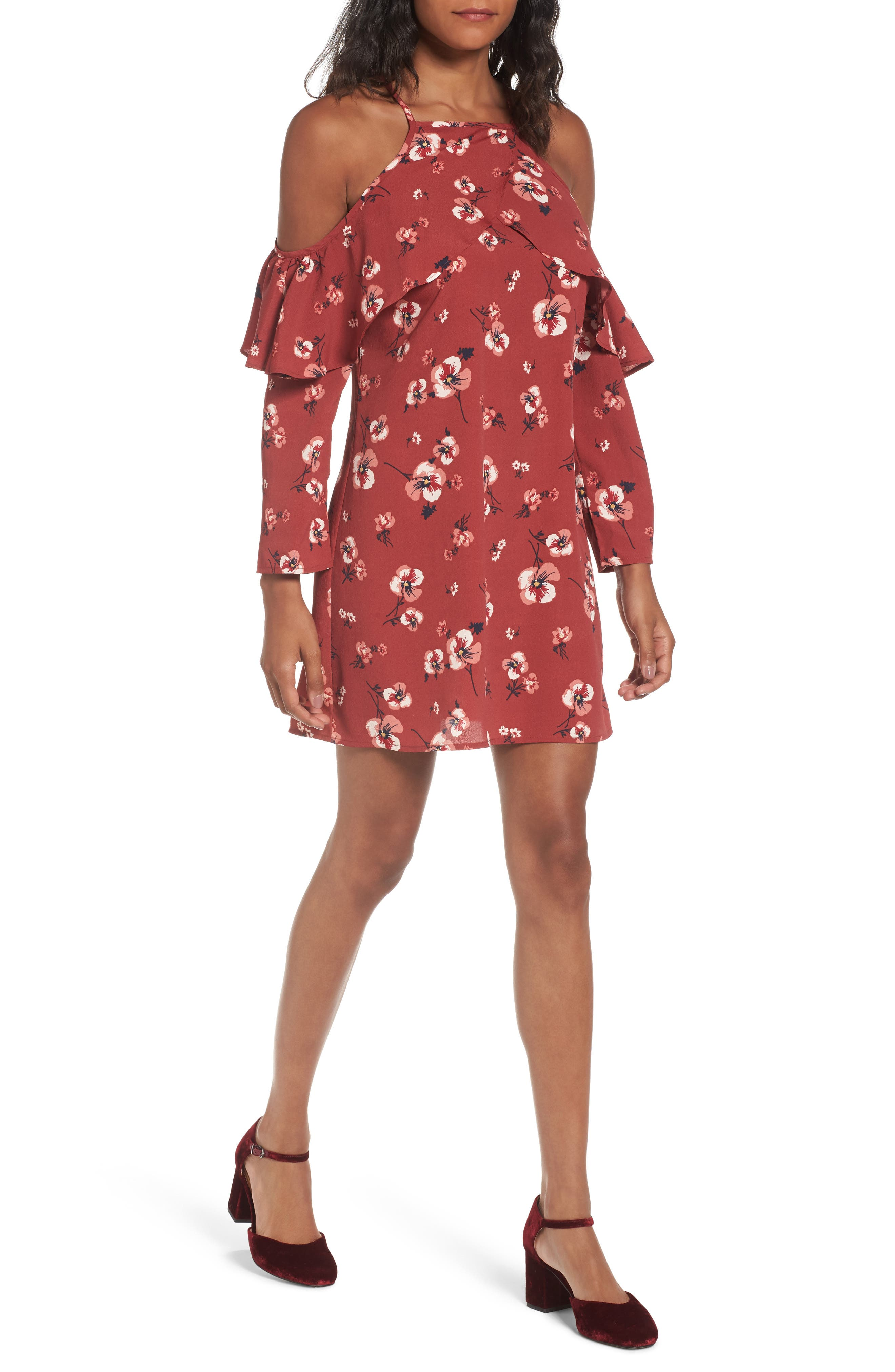 Band of Gypsies Poppy Print Ruffle Cold Shoulder Dress