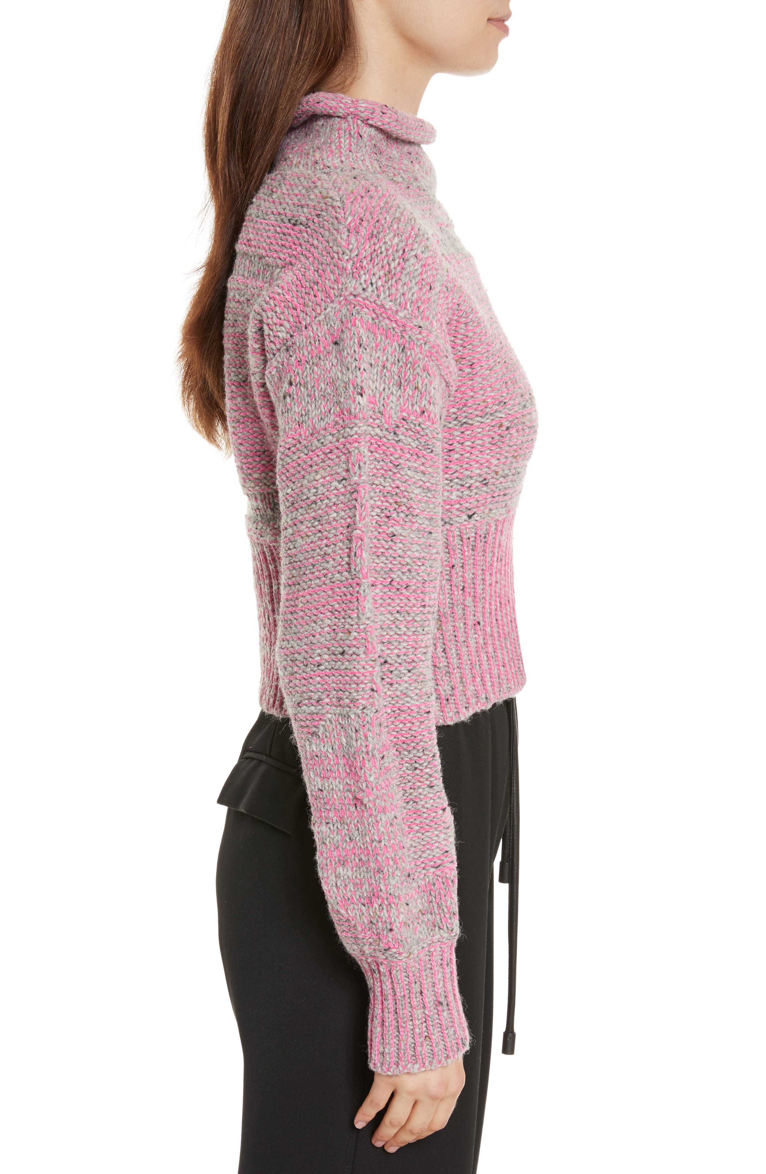 Wool Blend Funnel Neck Sweater,                             Alternate thumbnail 3, color,                             Candy Pink