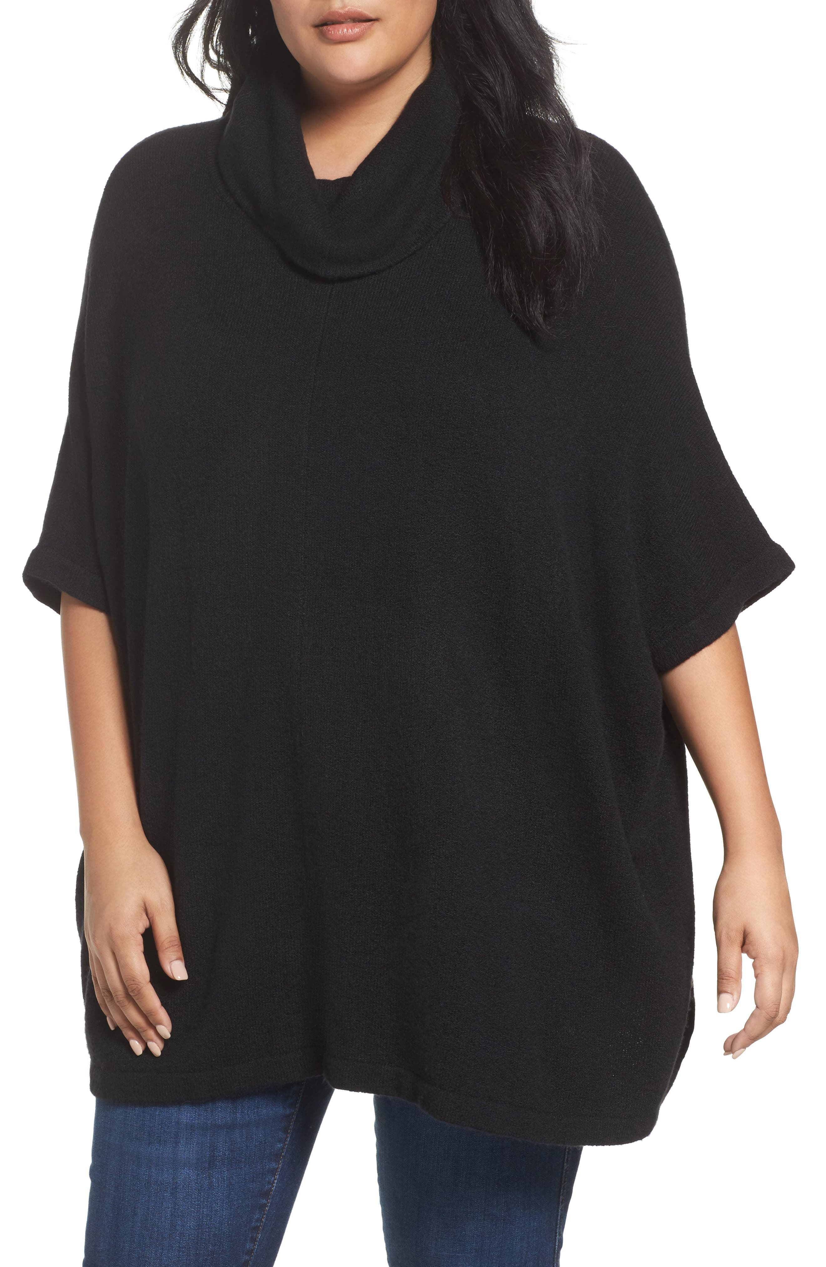 Caslon® Turtleneck Poncho Sweater (Plus Size)