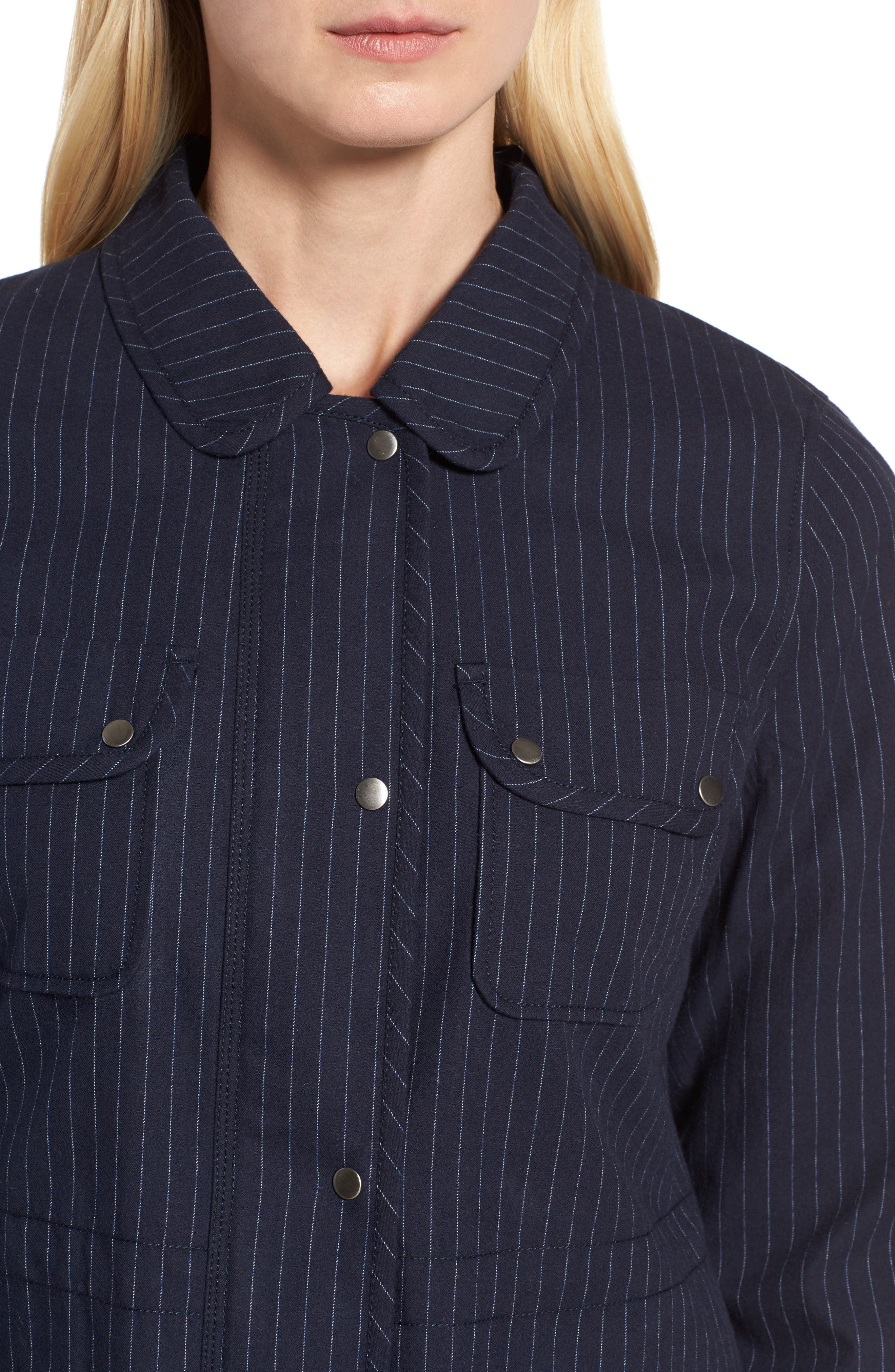 Pinstripe Utility Jacket,                             Alternate thumbnail 4, color,                             Navy- Ivory Pinstripe
