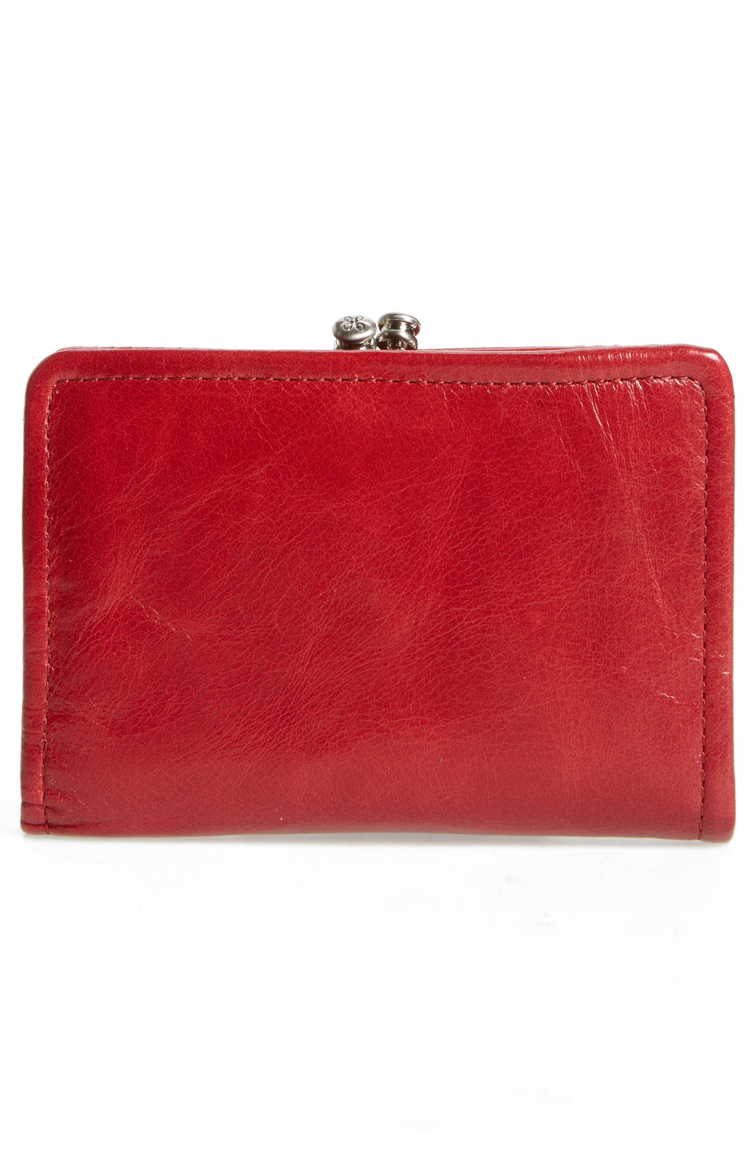 Delta Calfskin Leather Wallet,                             Alternate thumbnail 3, color,                             Cardinal
