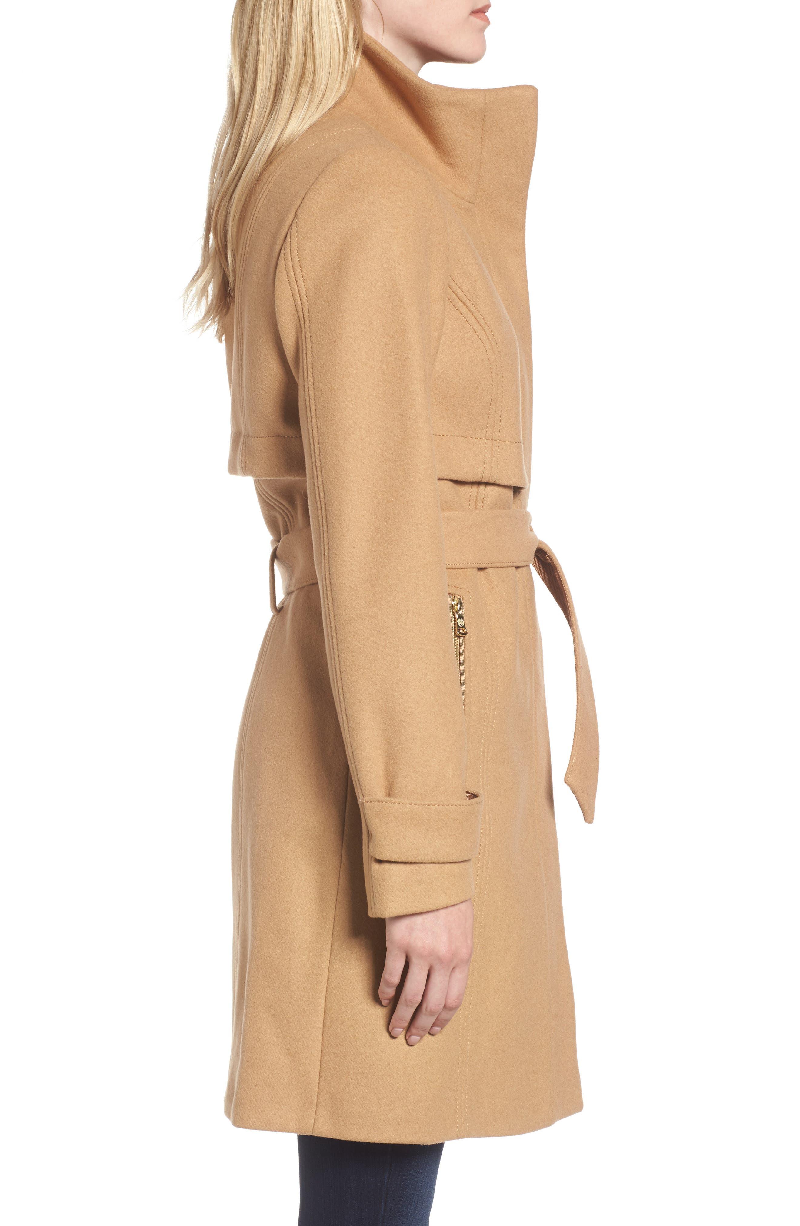 Flange Belted Coat,                             Alternate thumbnail 3, color,                             Camel