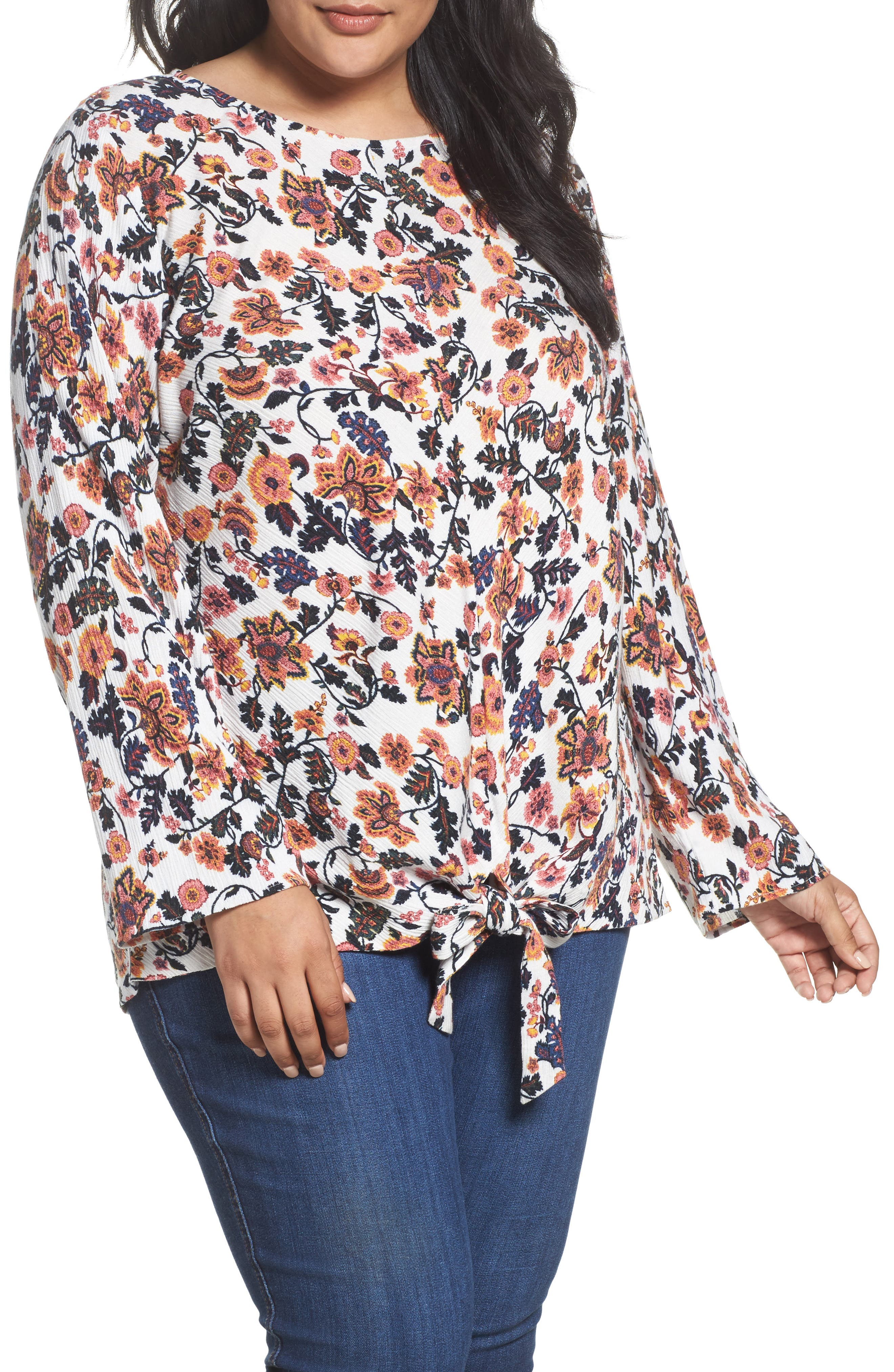 Knot Front Shirt,                         Main,                         color, Ivory Twisted Paisley Floral